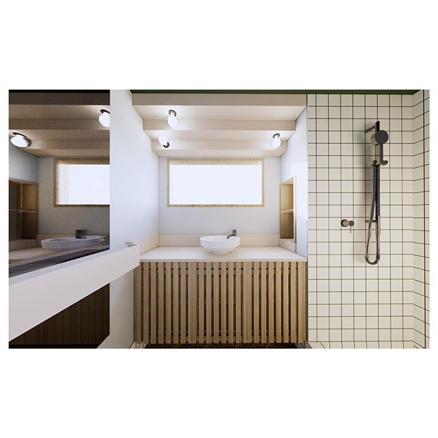 MRA Bathroom. ⠀ The original olive mosaic floor tiles start a motif of squares within this bathroom renovation that develop into stepping folded ribbons of powder coated aluminium. These become an expressive cornice / lamp shade, bench top with splash and towel rail. A vivid green ceiling and grey green walls aim to reflect the original floor. ⠀ ⠀ Starting on site soon.⠀ ⠀ #charleswarrenconstructions #metrotiles #rogerseller #zctechnical #dulux #parcoffice #mrabathroom #australianarchitecture #architectue #interiordesign #bathroomdesign