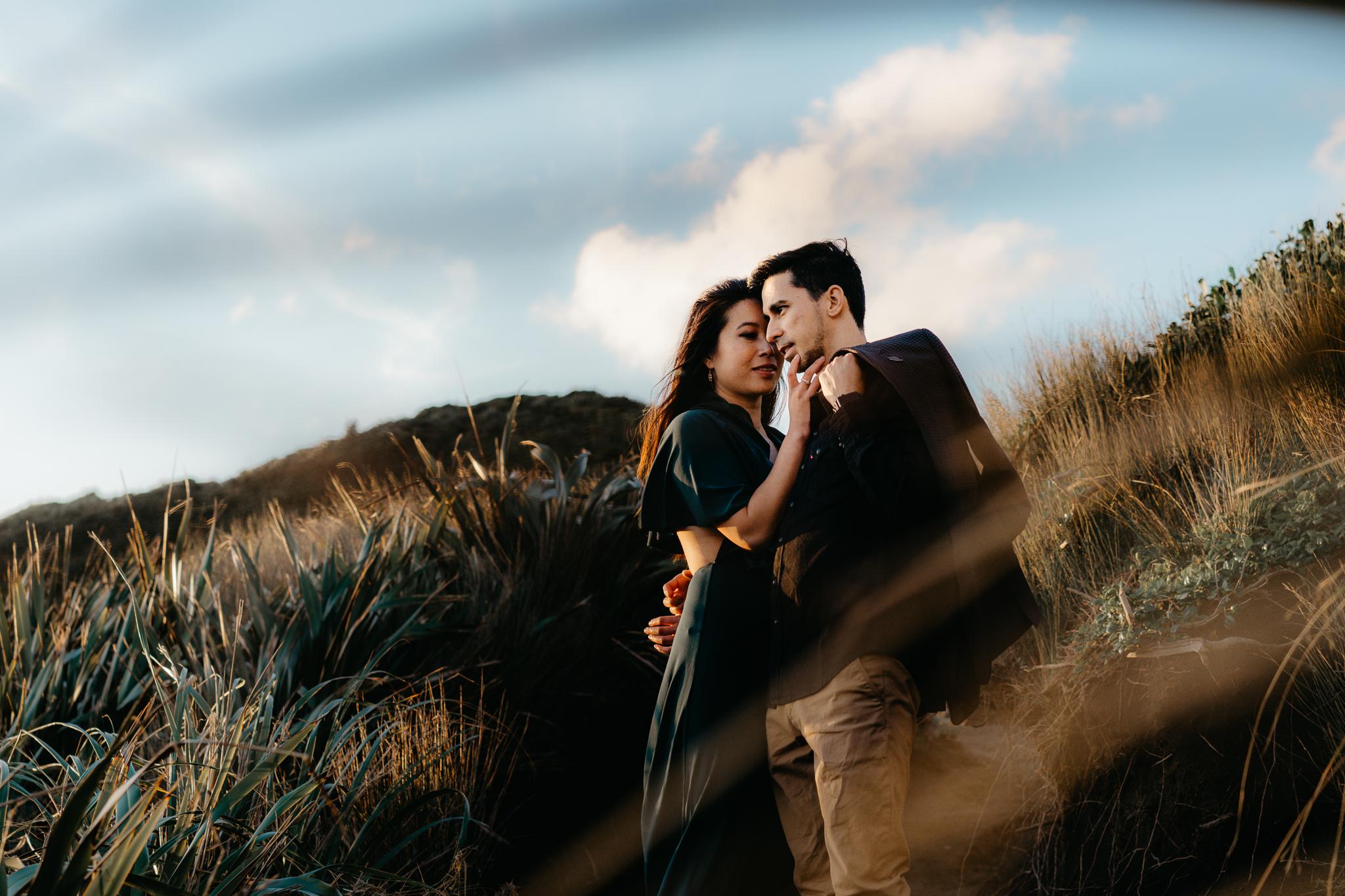 Top Auckland Palmerston North Wellington NZ Photographer New Zealand Wedding Elopement Destination Candid Special Wedding Photographer Photography Couple Engaged Engagement Style Love Piha Beach