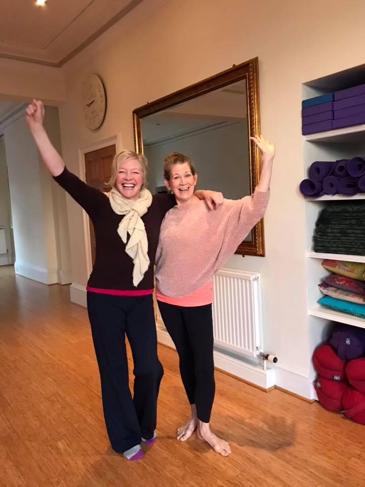 Christine Rumley, Iyengar Yoga Teacher and Laurie Prime, Studio Owner - cheerleaders for Yoga!