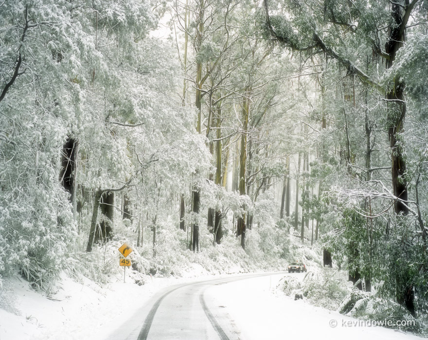 Snow covered road, Lake Mountain, Victoria. Soft focus effect.