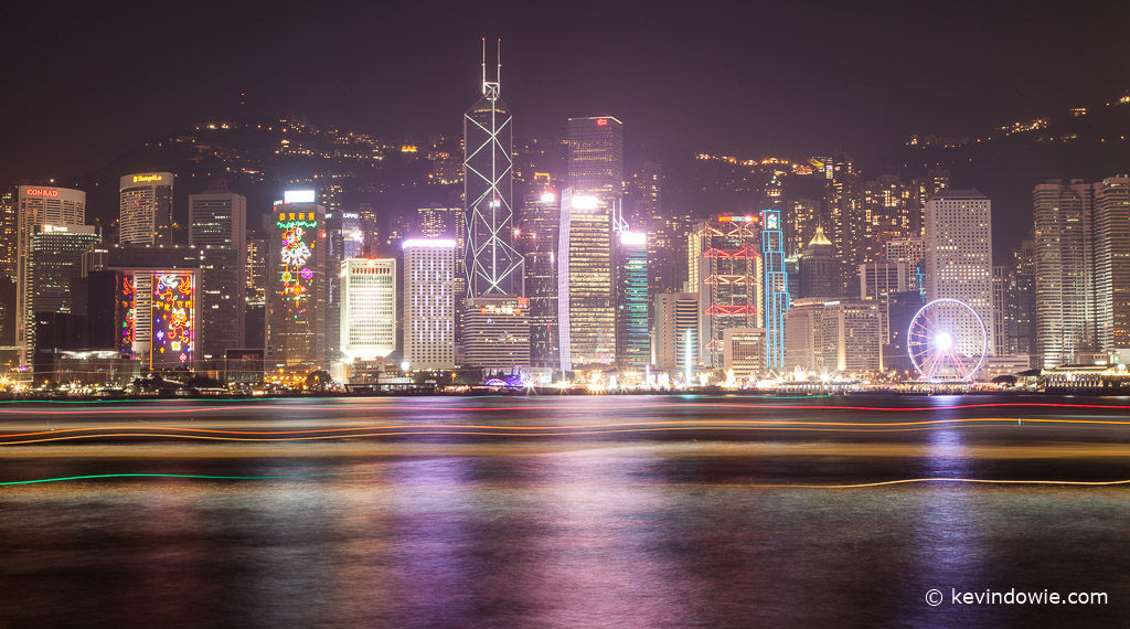 Hong Kong harbour traffic by night