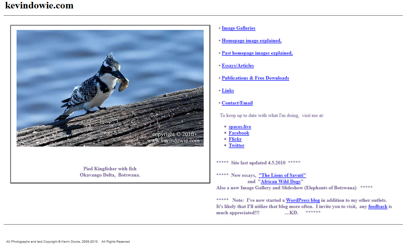 The further evolution of the homepage, image captions and a growing list of linked pages.