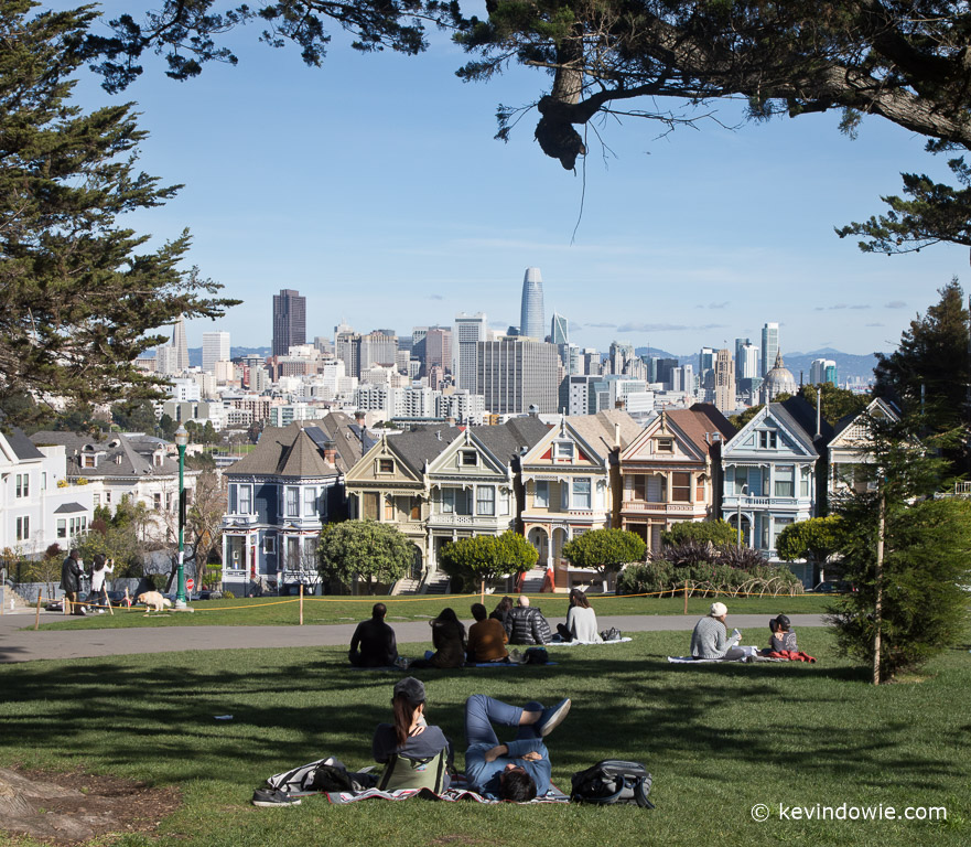 """The """"painted ladies"""" as viewed from Alamo Square Park."""