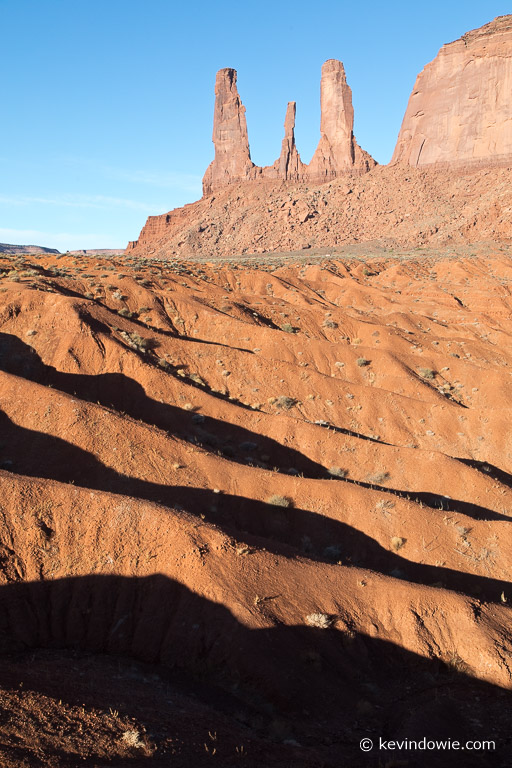 The Three Sisters, Monument Valley. Again the use of foreground detail, in this case repeating shadows.