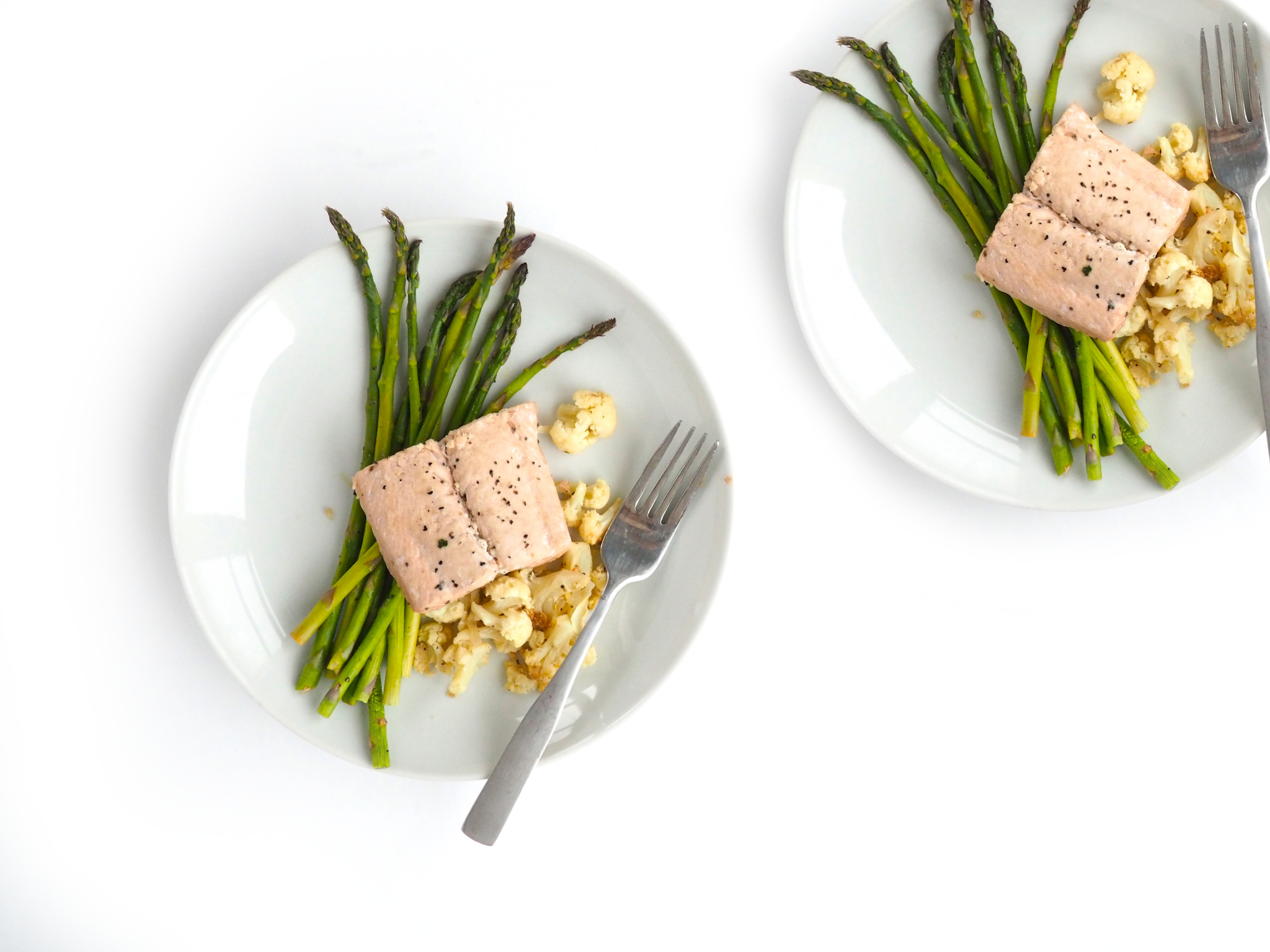 Poached Salmon with Roasted Asparagus Cauliflower_7