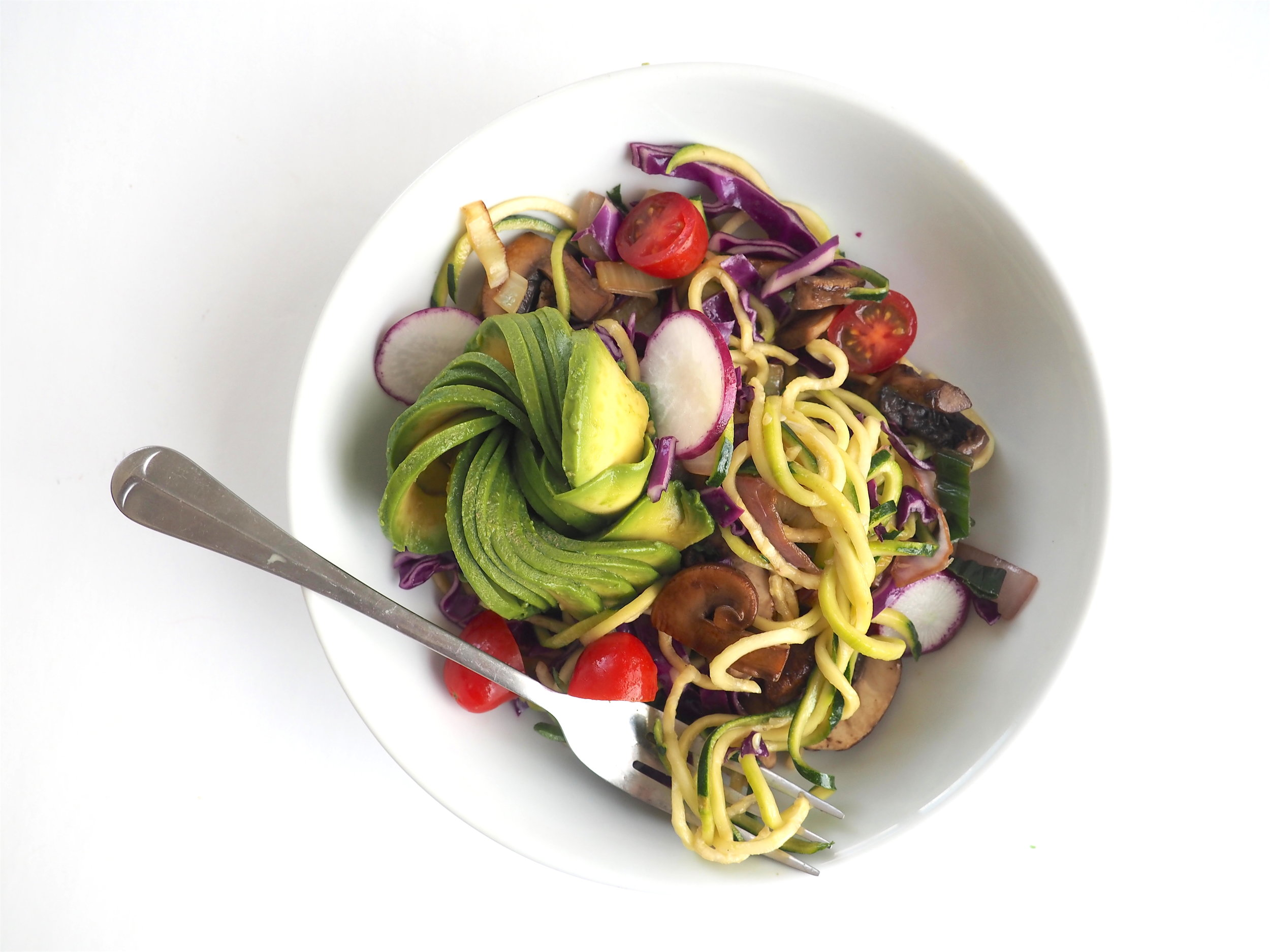 Fresh Zoodles With Sautéed Leeks, Mushrooms & Avocado Flower
