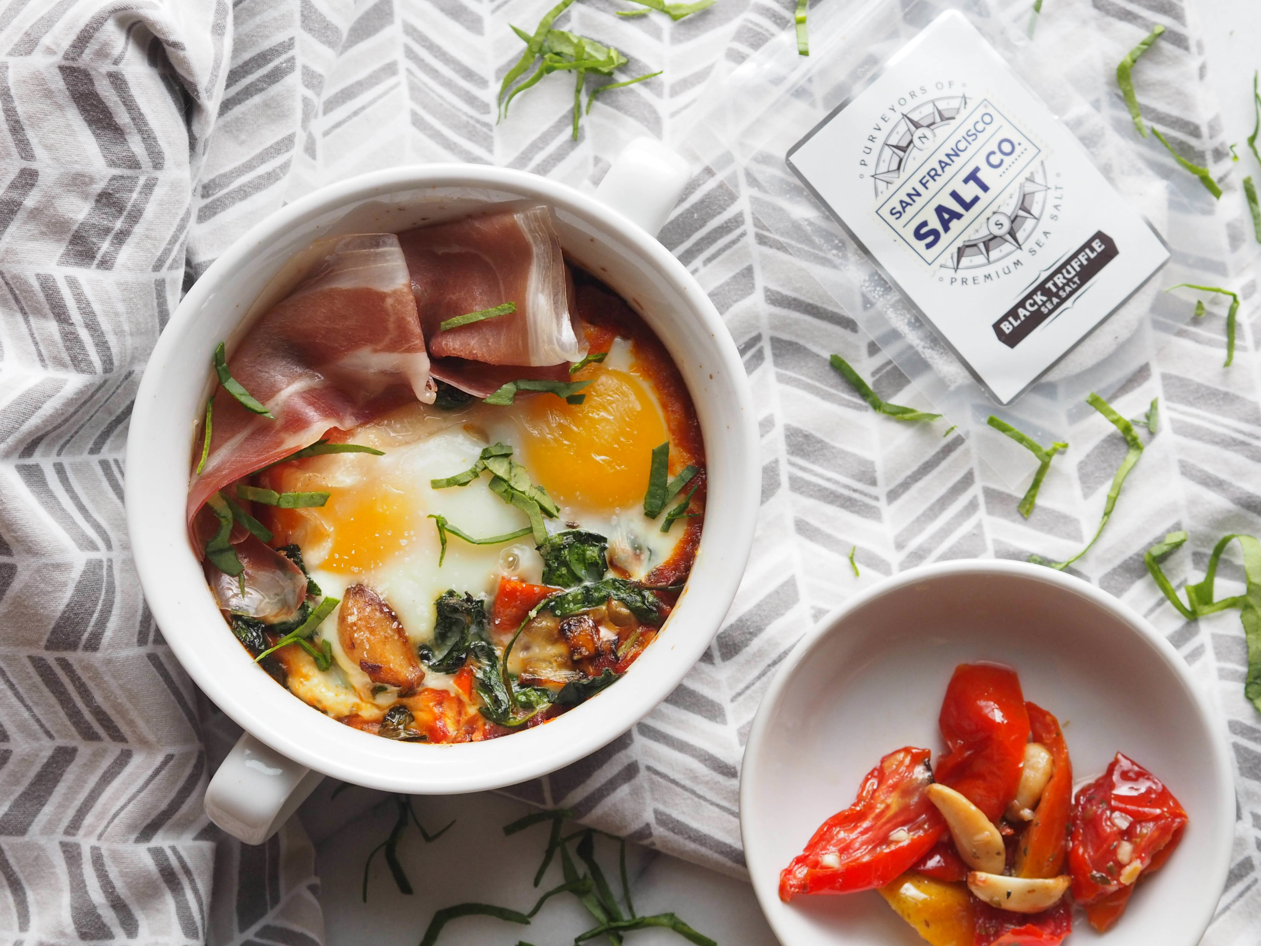 umami prosciutto baked eggs