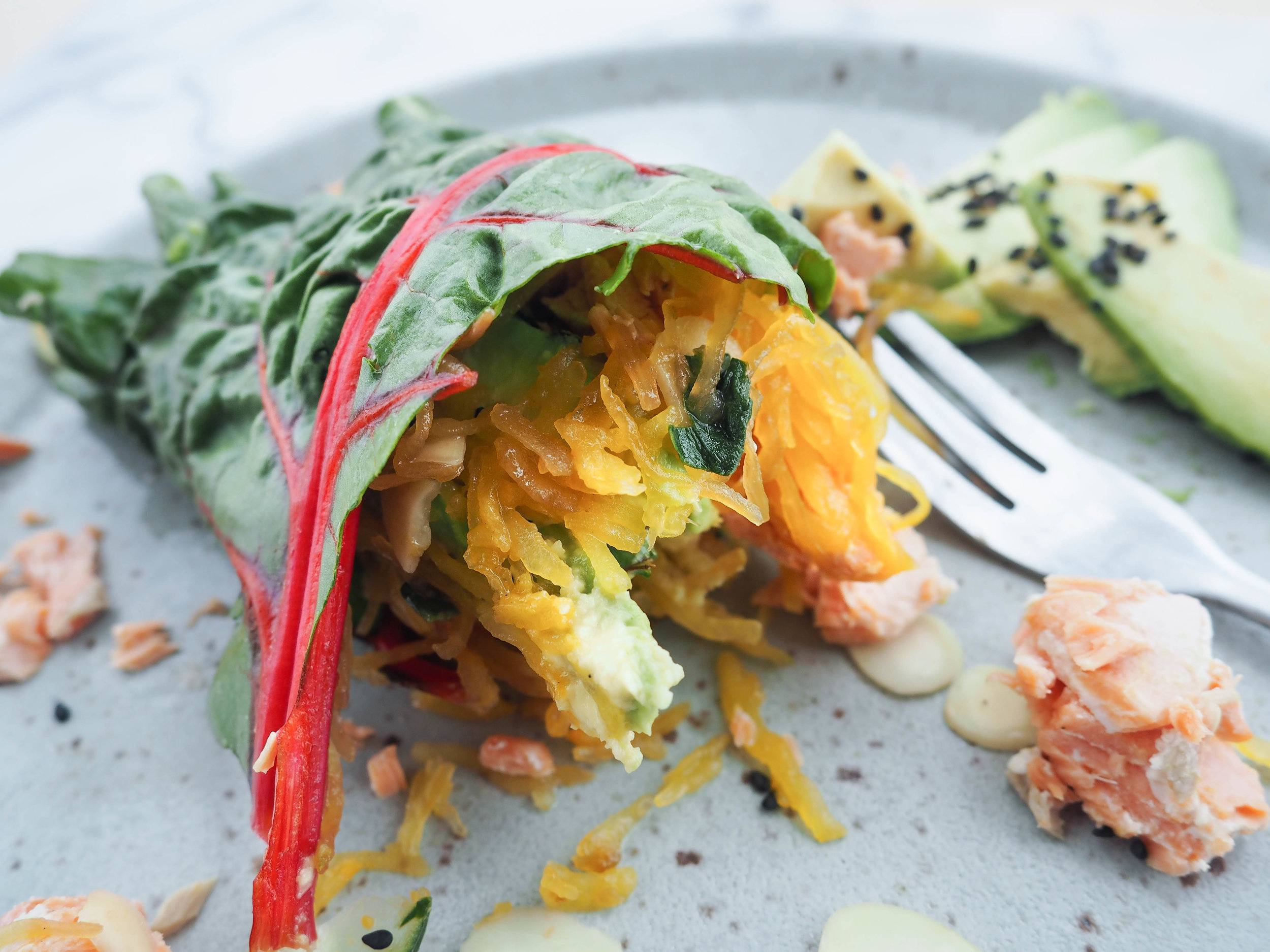 Wrap n' Roll: Avocado-Salmon Rainbow Chard Warp