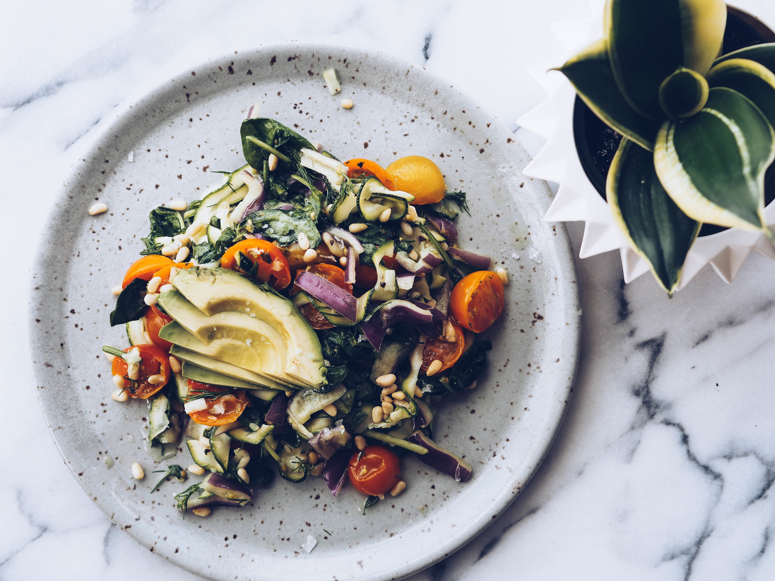 Shaved Zucchini Salad with Plant-Based Cheese and Pine Nuts