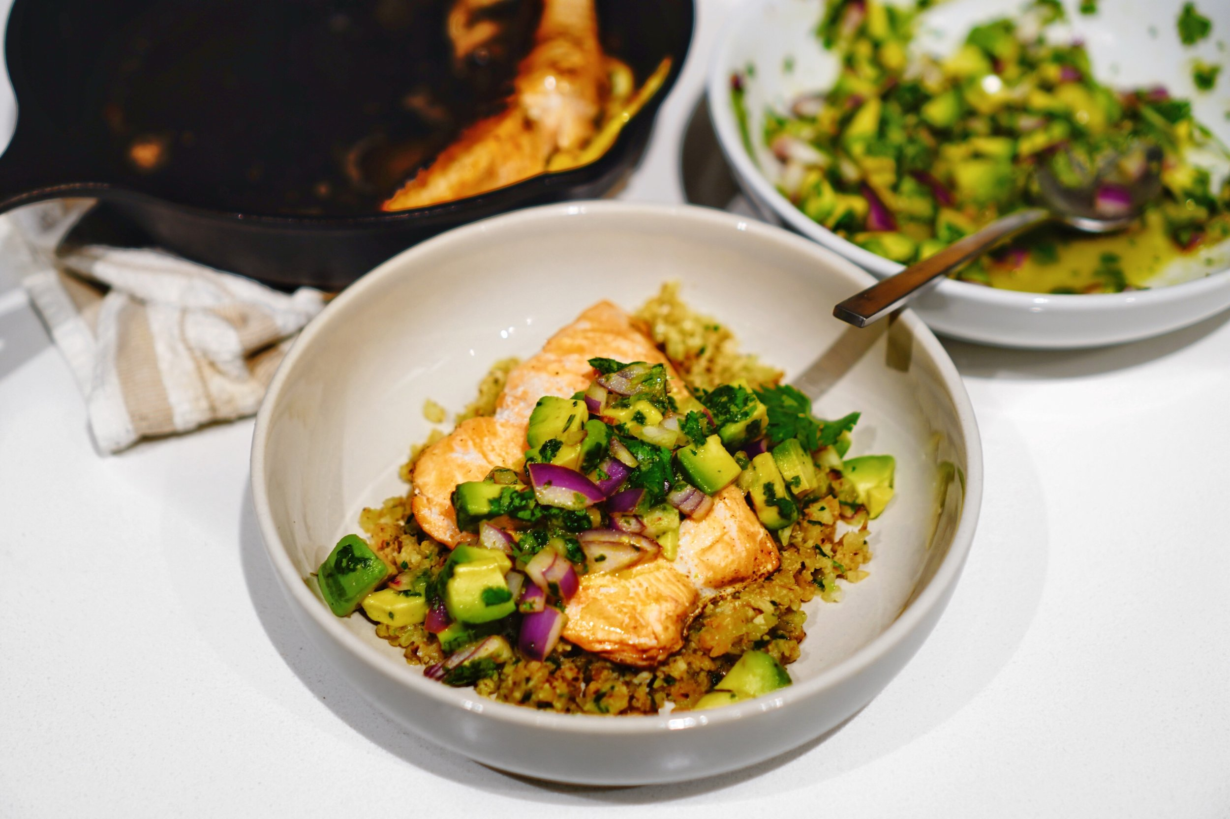 Salmon with Cilantro Cauli-Rice & Avocado Salsa
