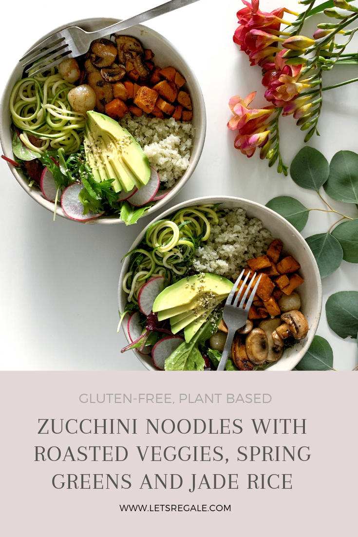 Zucchini Noodles with Roasted Veggies, Spring Greens and Jade Rice - www.letsregale.com - Gluten-Free, Plant Based, Clean Recipes 4.jpg.png