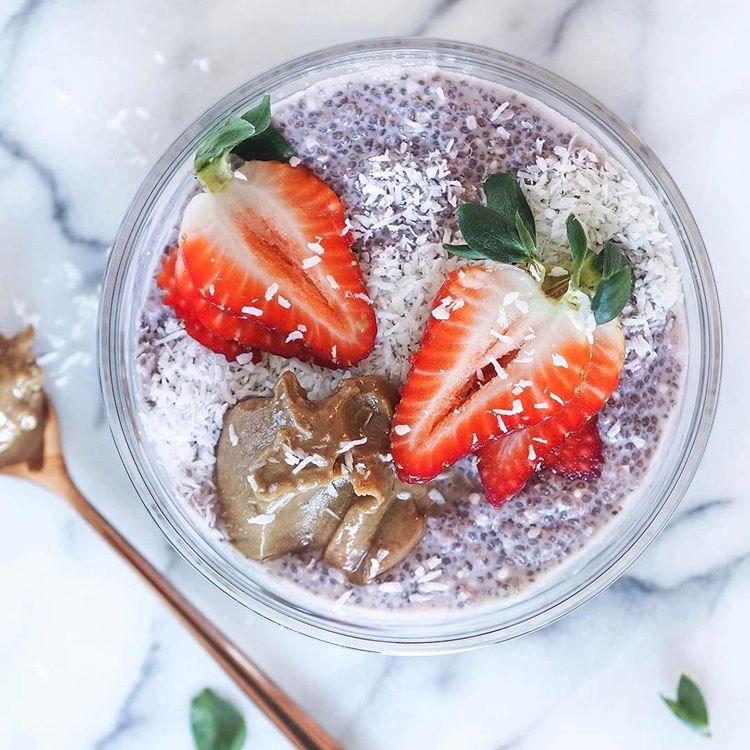 Raspberry Strawberry Coconut Milk Chia Pudding Keto Breakfast - livethelittlethings.com