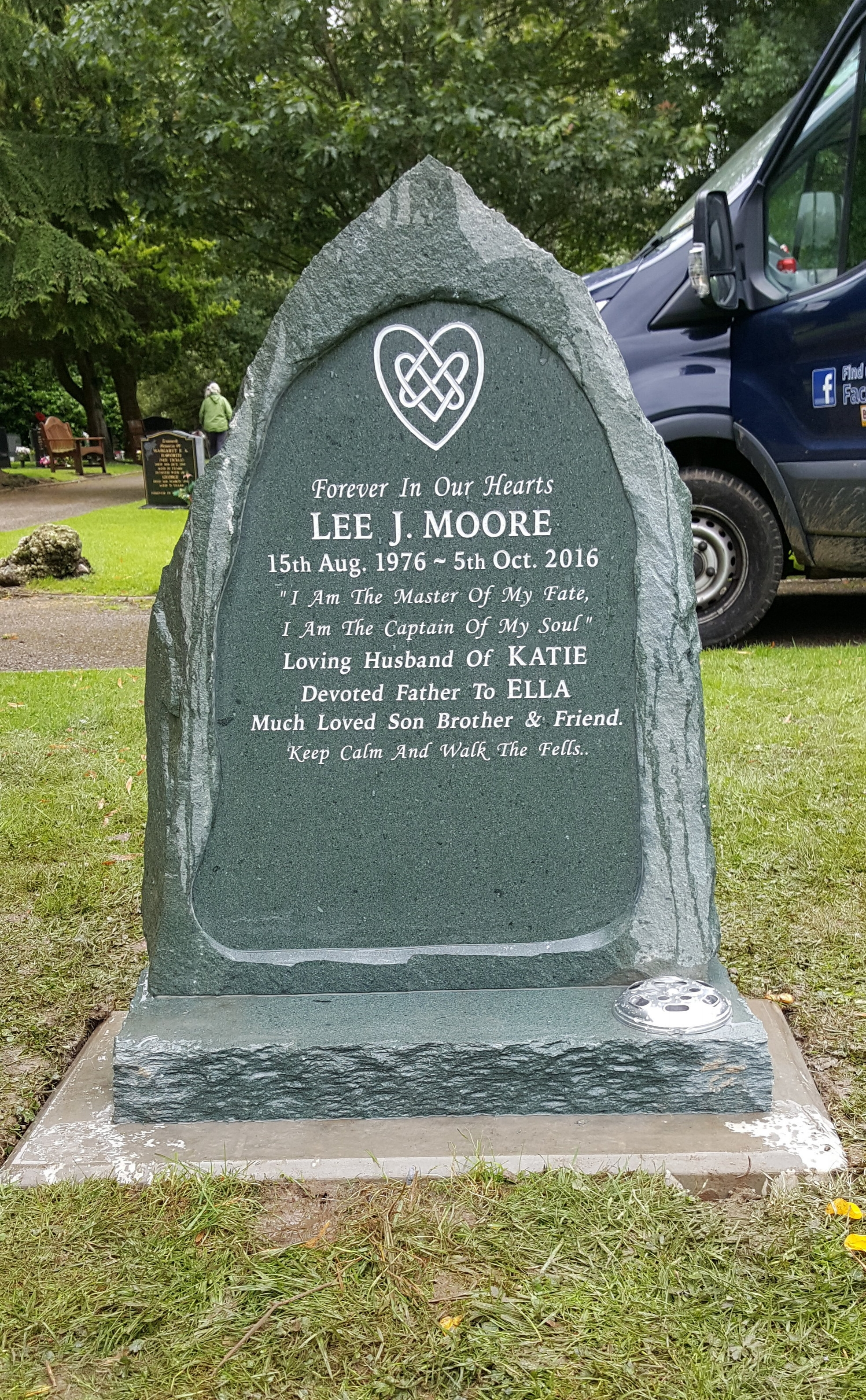 Routed slate memorial with hand-carved celtic heart
