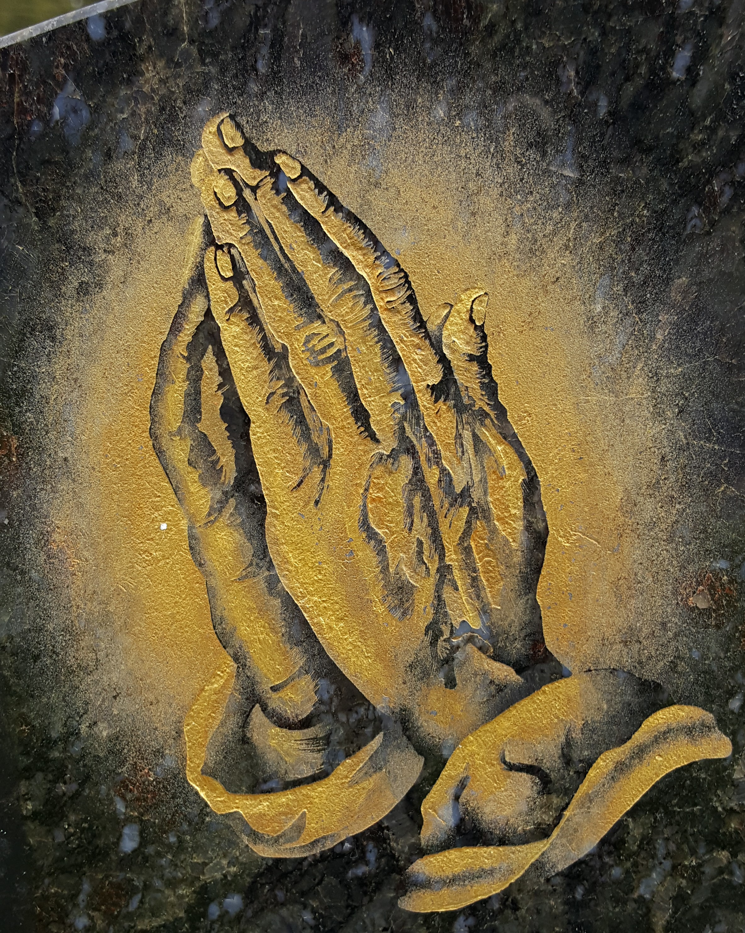 Gold praying hands