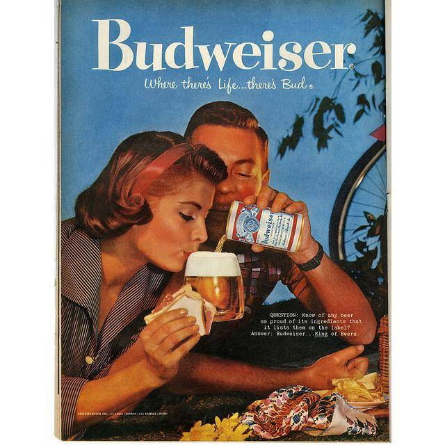 """1959 Vintage Budweiser ad with the """"Where there's life...there's Bud"""" slogan. (source:  http://neatdesigns.net/)"""