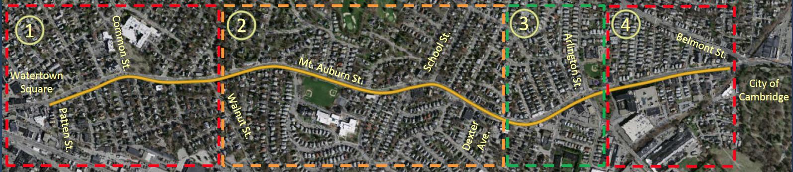 The Mount Auburn Street corridor, broken into four segments: (1) Patten Street to Walnut Street, (2) Walnut Street to Dexter Avenue, (3) Dexter Avenue to Arlington Street (Coolidge Square), (4) Prentiss Street to Cambridge city line.