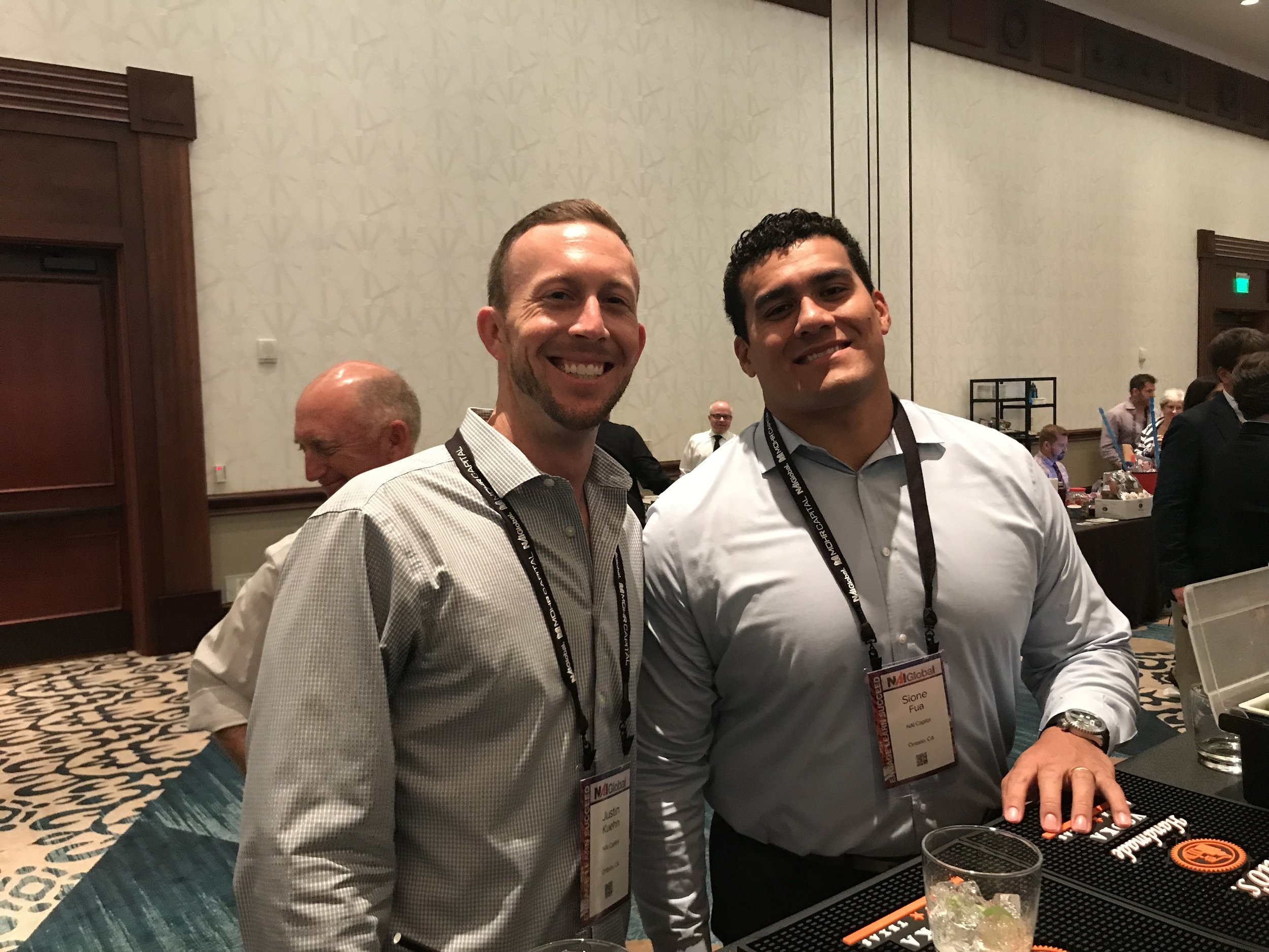 Senior Associates Justin Kuehn and Sione Fua  making the most of the 2018 NAI Convention