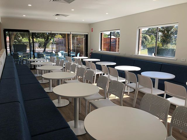 || Cafe style teachers lounge for the 50+ teachers at this Perth Catholic school. We designed an extension to the existing Admin building to provide a spacious, light filled and modern space for these teachers ||