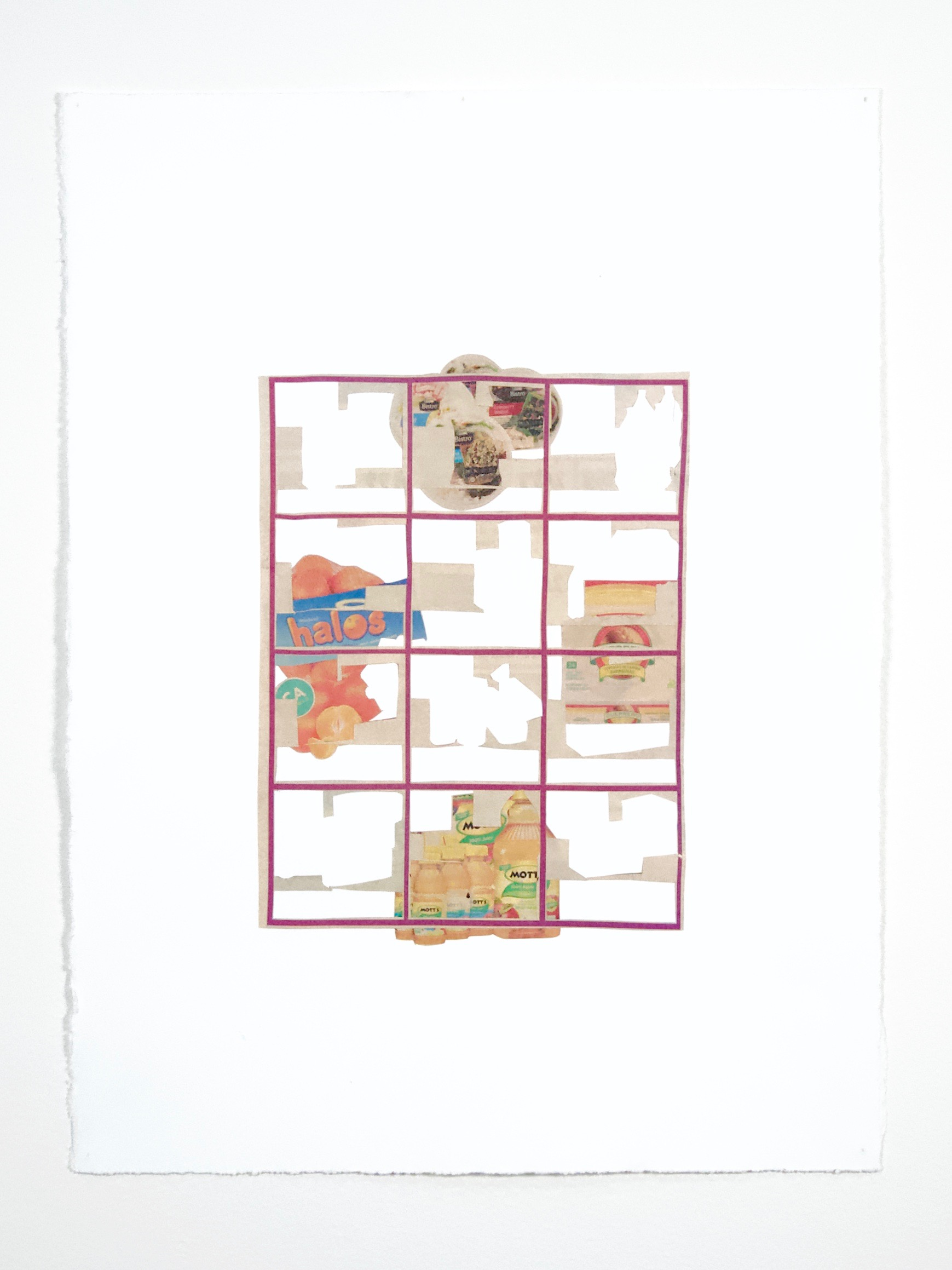 """TABULA (tesT PIECE), Cut-up grocery ads on Somerset paper, 11 1/4"""" x 15"""", 2019"""