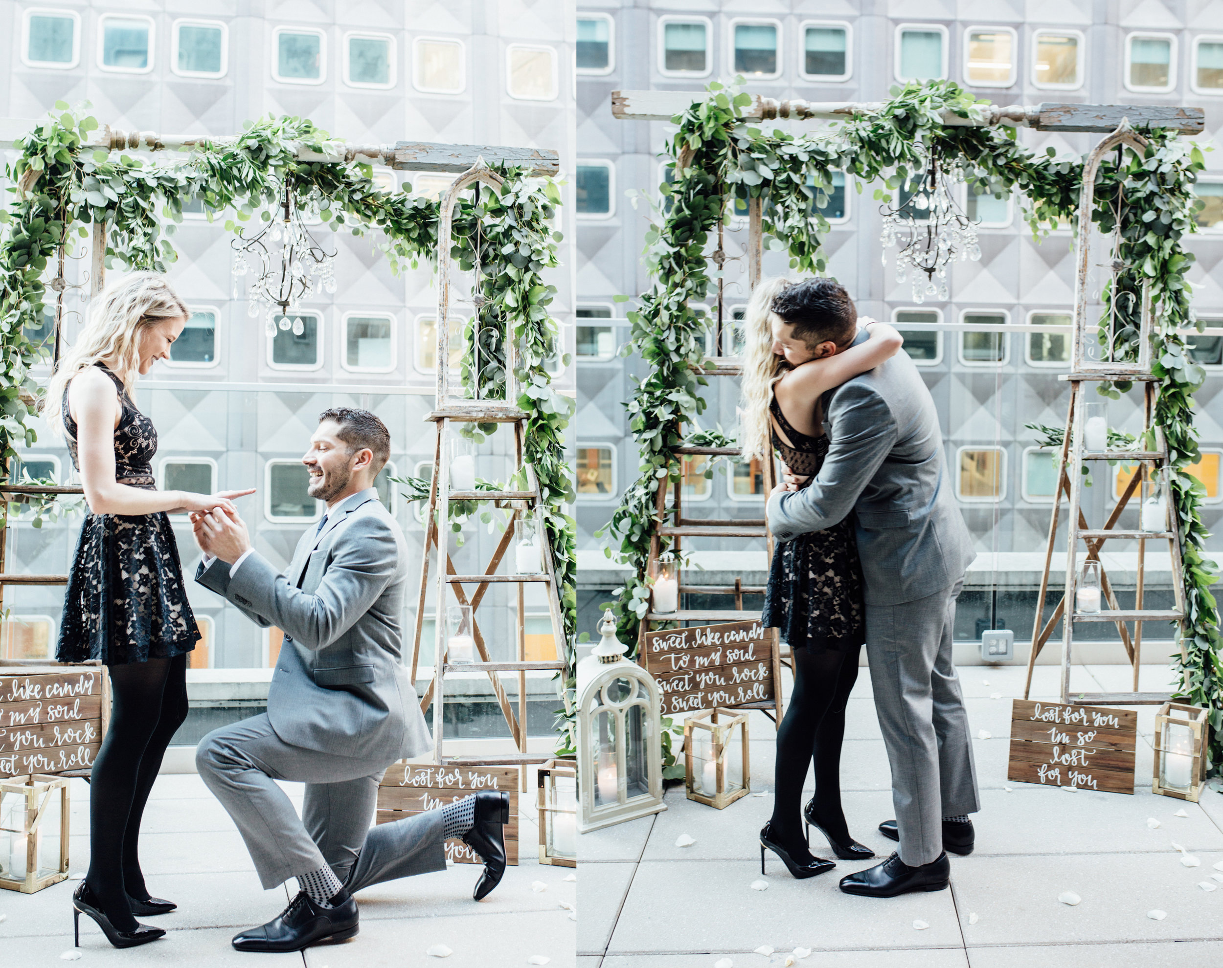 Hotel Monaco Pittsburgh | Wedding Proposal Planners | Exhale Events | Candlelight Sunset