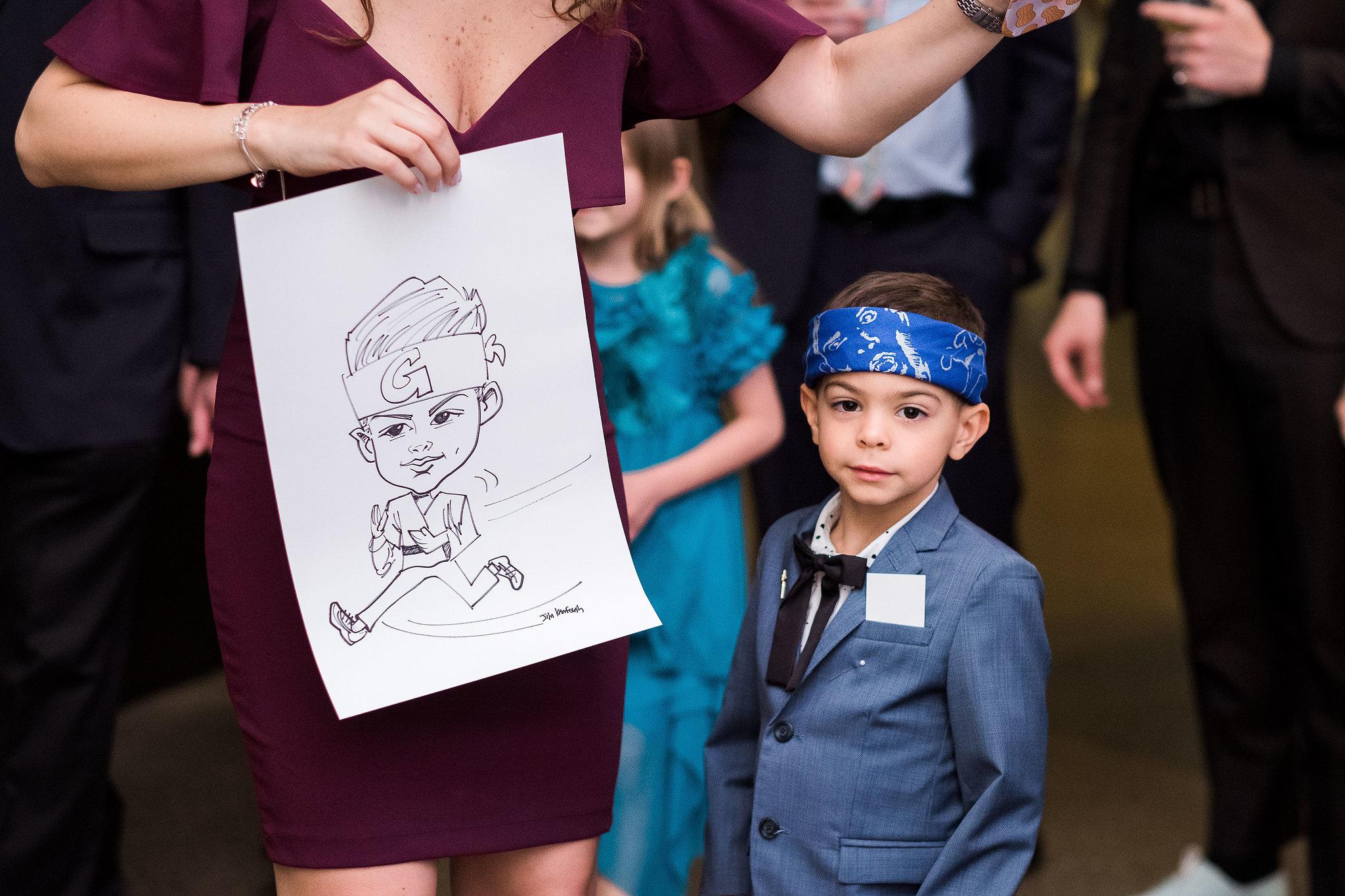 Caricature artist at Pittsburgh wedding