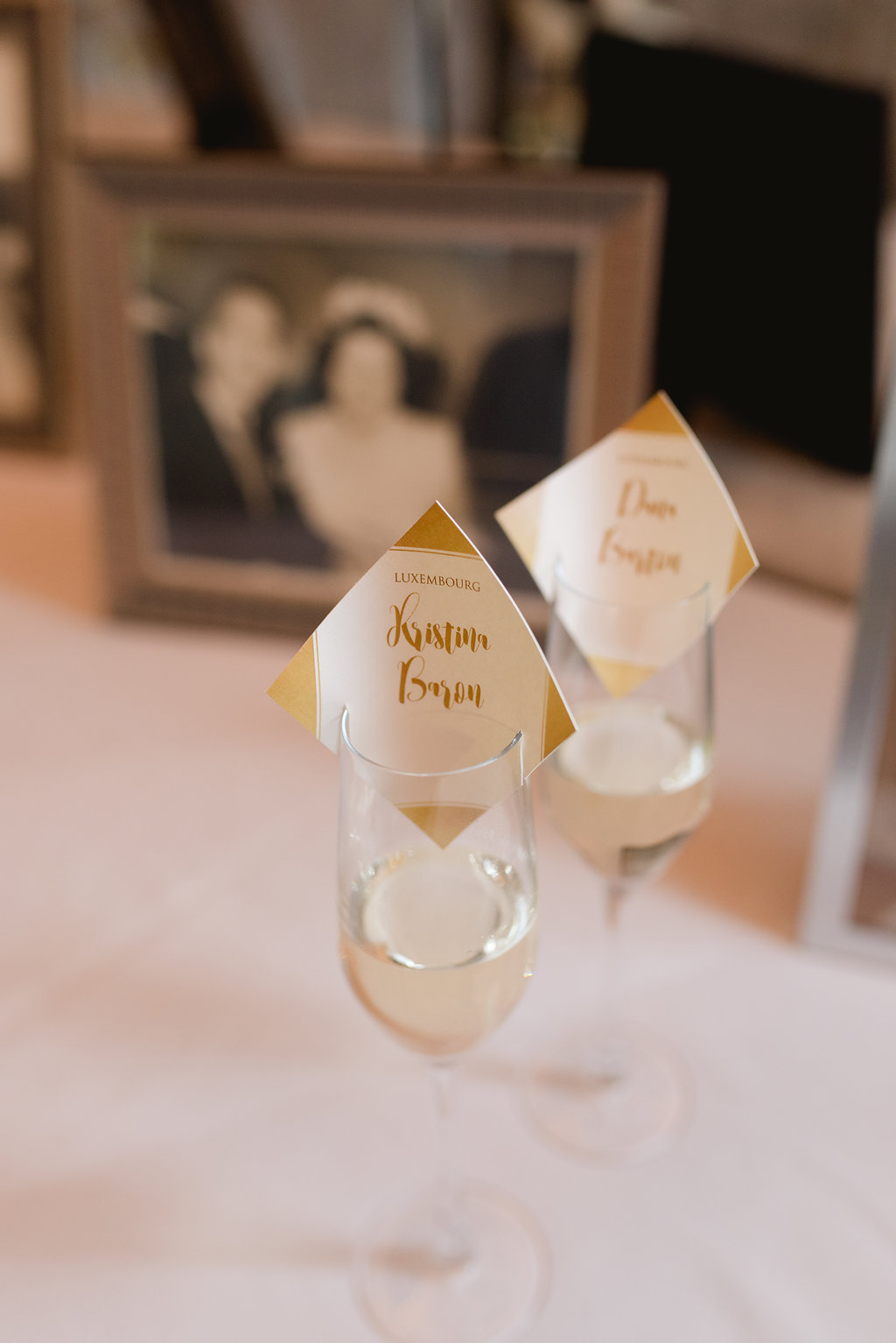 Bride and groom champagne glasses at Pittsburgh wedding