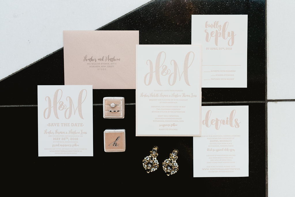 Light pink wedding invitation suite for Pittsburgh wedding