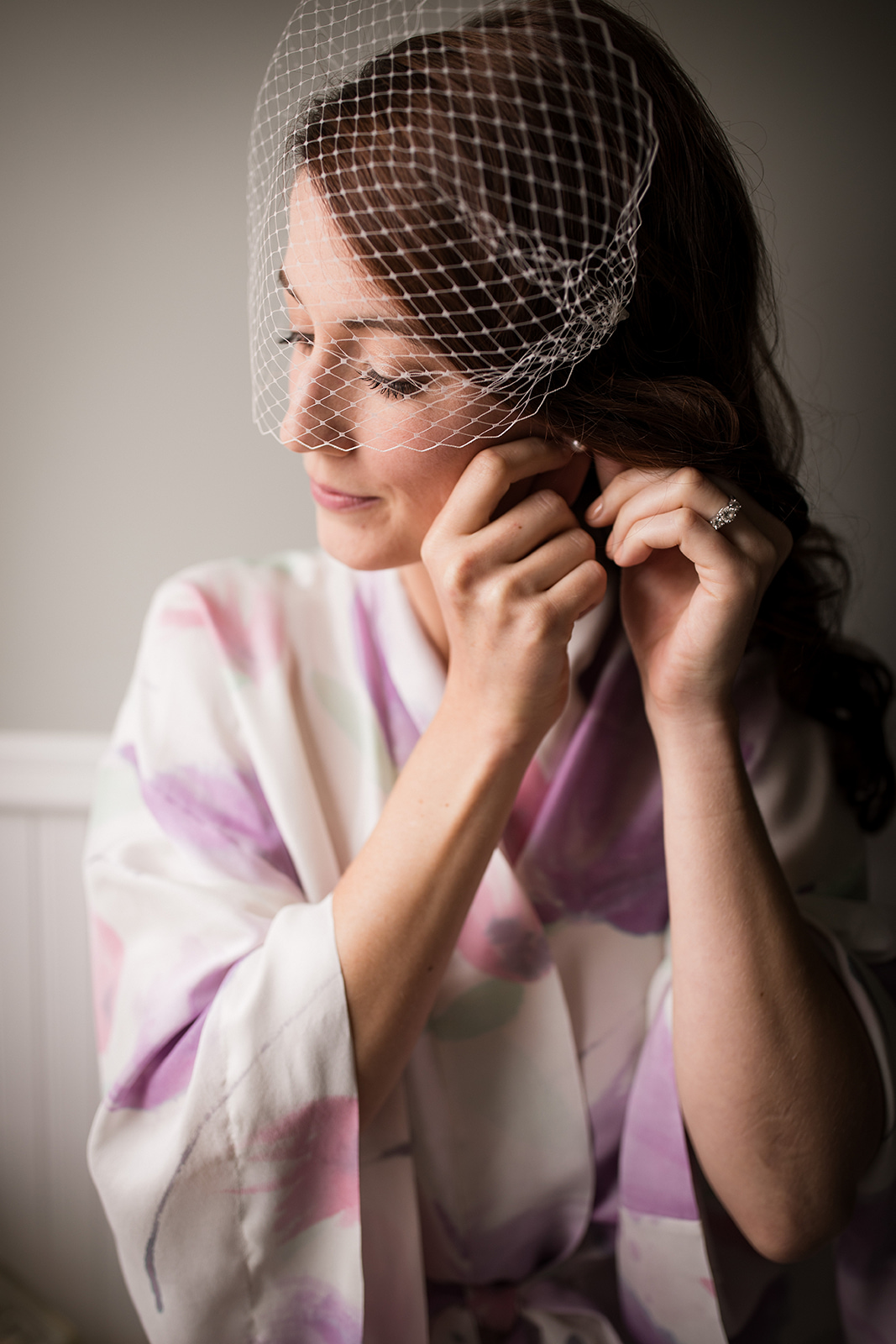 Wedding hair and make-up for the bride in her birdcage veil for her school-themed, vintage glam Pittsburgh wedding at Ace Hotel. See more fun details at exhale-events.com!