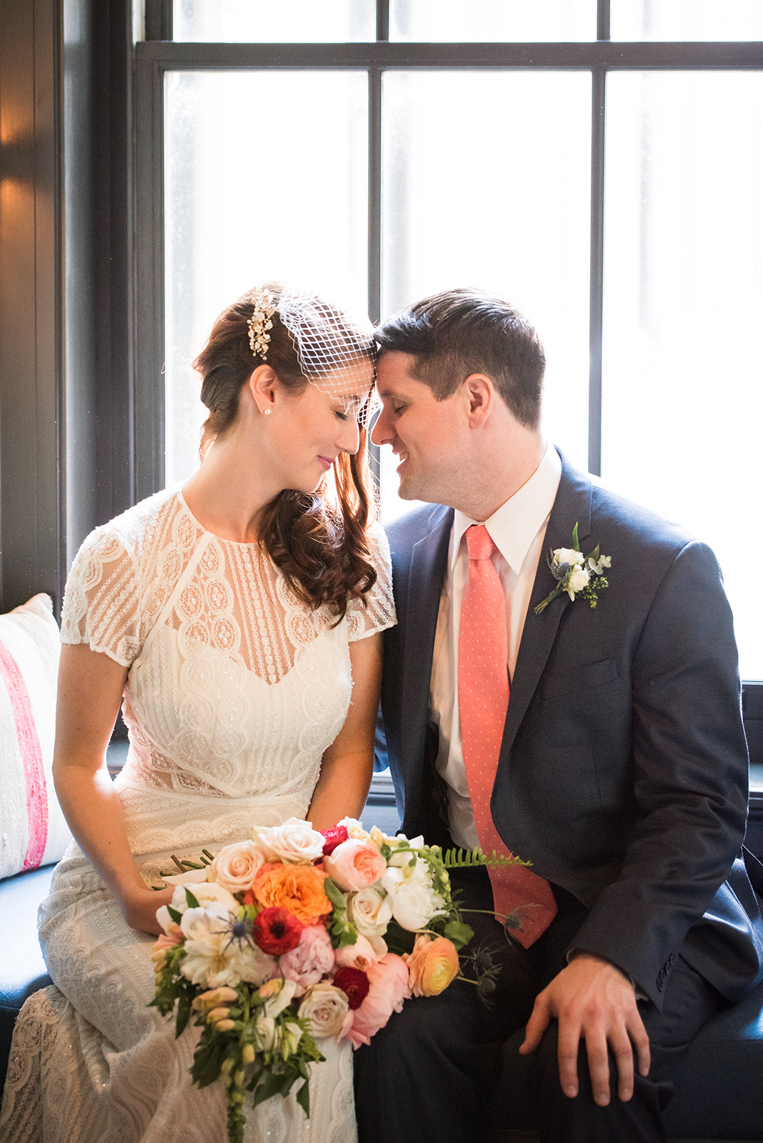 Bride and groom pose with vintage wedding reception decor for their school-themed vintage glam wedding at Ace Hotel in Pittsburgh. See more fun details at exhale-events.com!