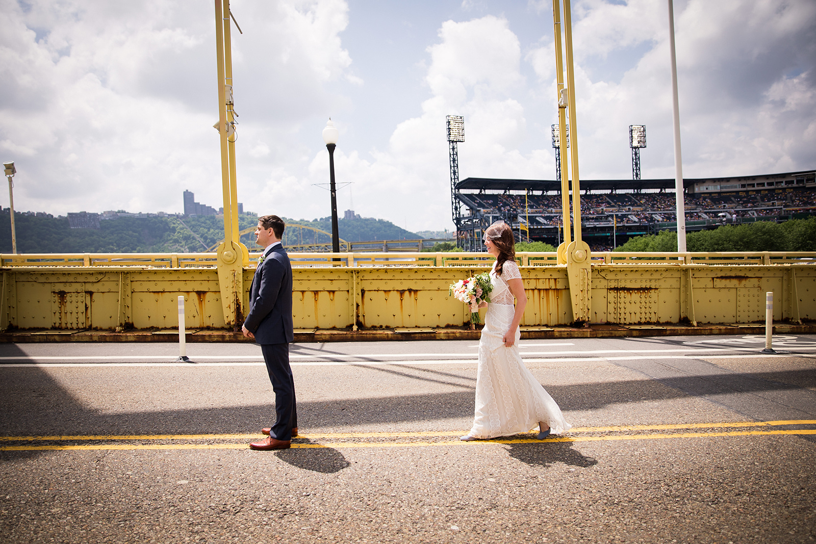 Bride and groom's first look for their school-themed vintage wedding at Ace Hotel in Pittsburgh. See more fun details at exhale-events.com