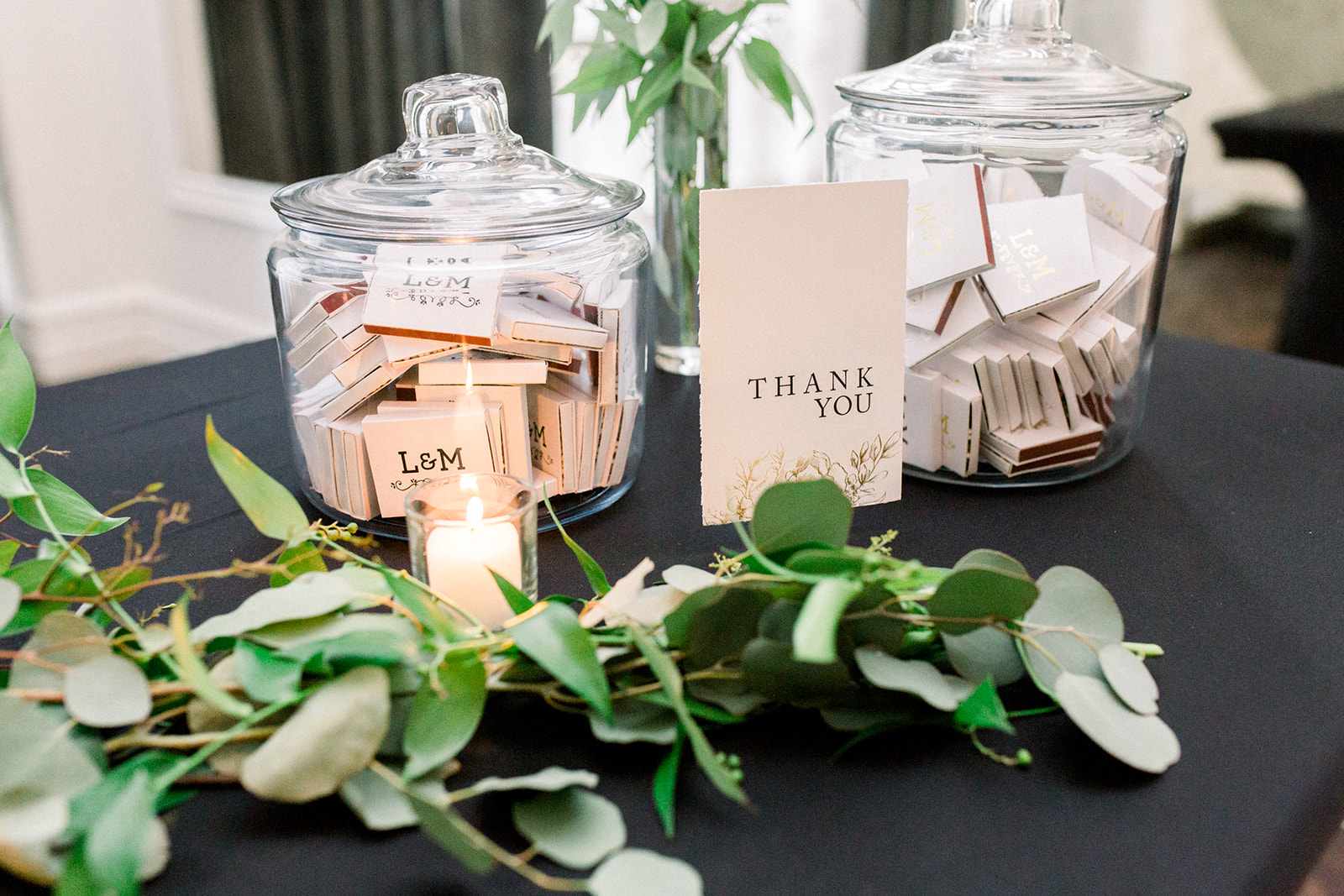 Matches used as wedding favors displayed at wedding reception for Pittsburgh wedding held at Hotel Monaco. See more beautiful details of this simple, yet stunning wedding at exhale-events.com!