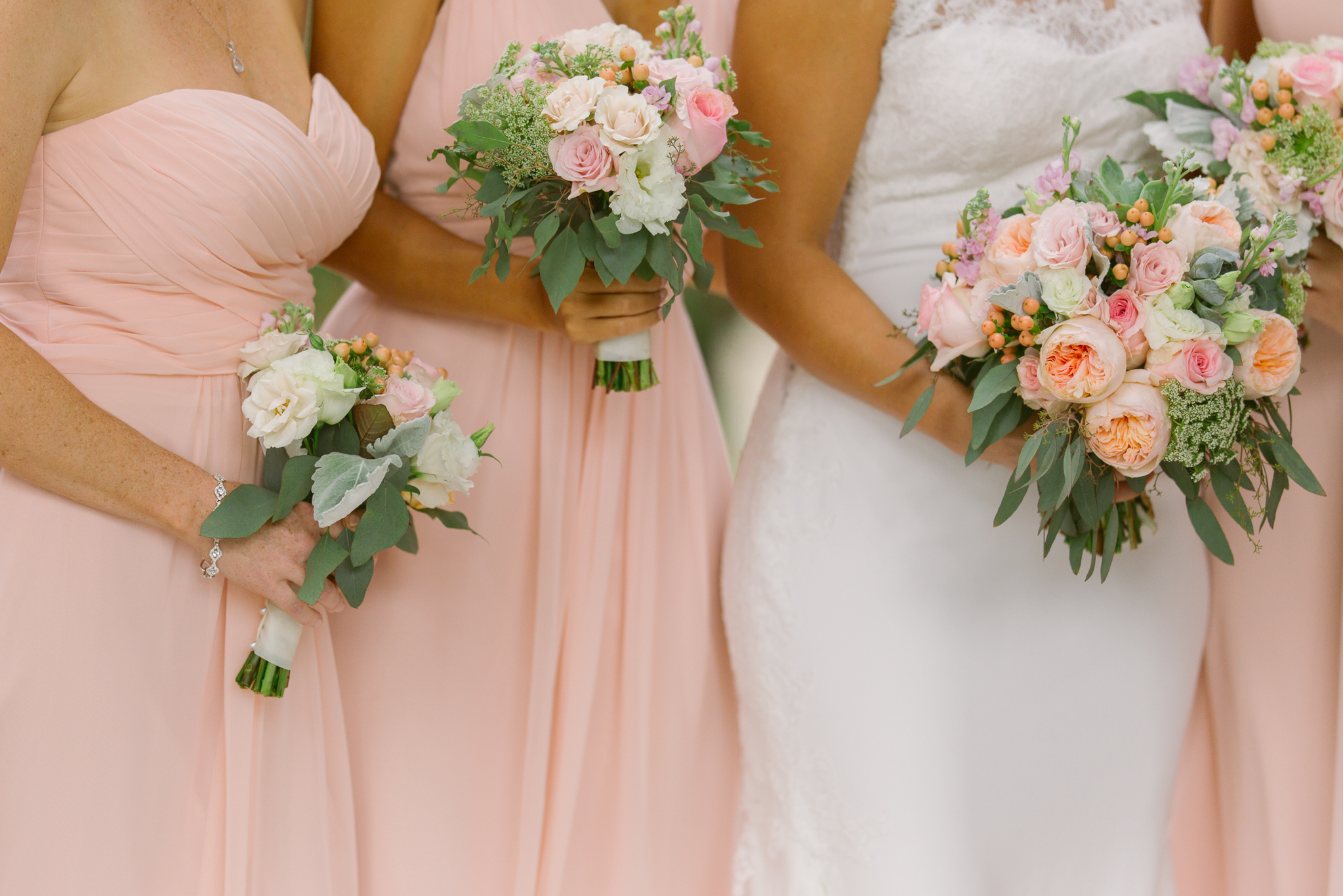 Pink wedding bouquets and pink bridesmaids dresses for San Diego, California outdoor wedding planned by Exhale Events. See all the beautiful details at exhale-events.com!