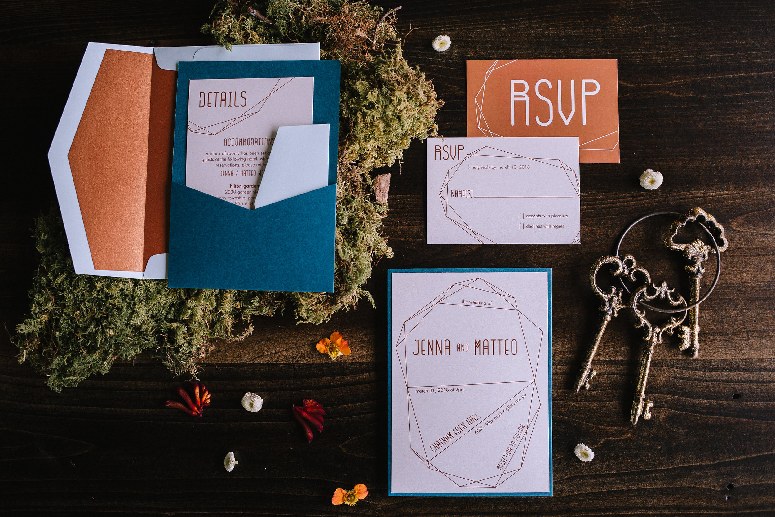 Teal and copper wedding invitations for fall vintage boho styled shoot designed by exhale events. Get inspired by these gorgeous wedding details at exhale-events.com!