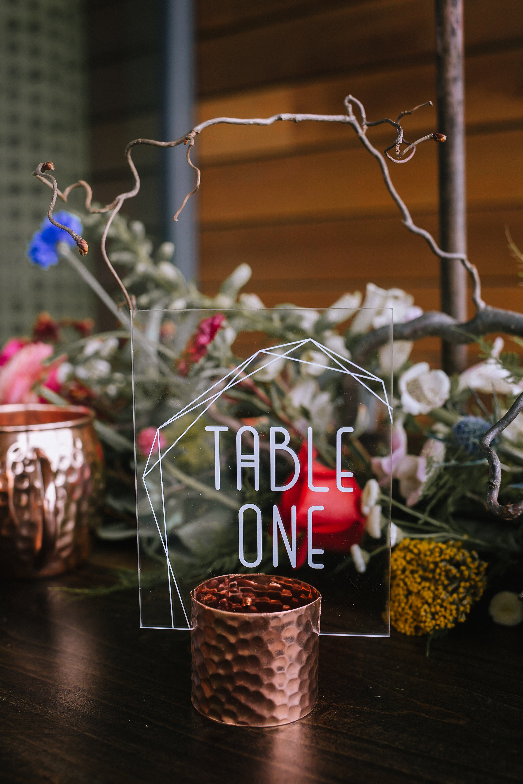 Acrylic wedding table number with copper accents at fall vintage boho styled shoot designed by exhale events. Get inspired by these gorgeous wedding details at exhale-events.com!