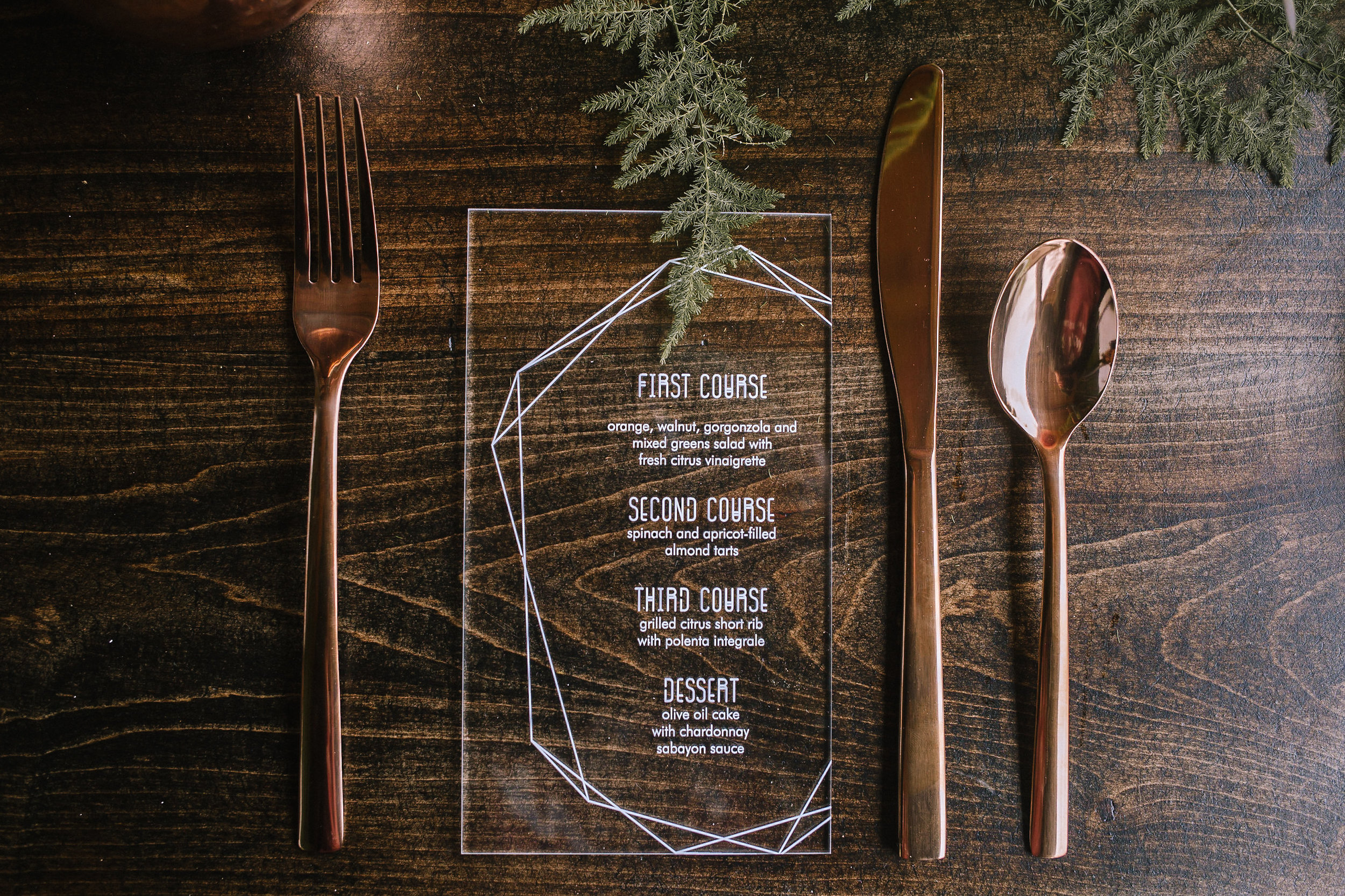 Acrylic wedding menu at wedding table for fall vintage boho styled shoot designed by exhale events. Get inspired by these gorgeous wedding details at exhale-events.com!