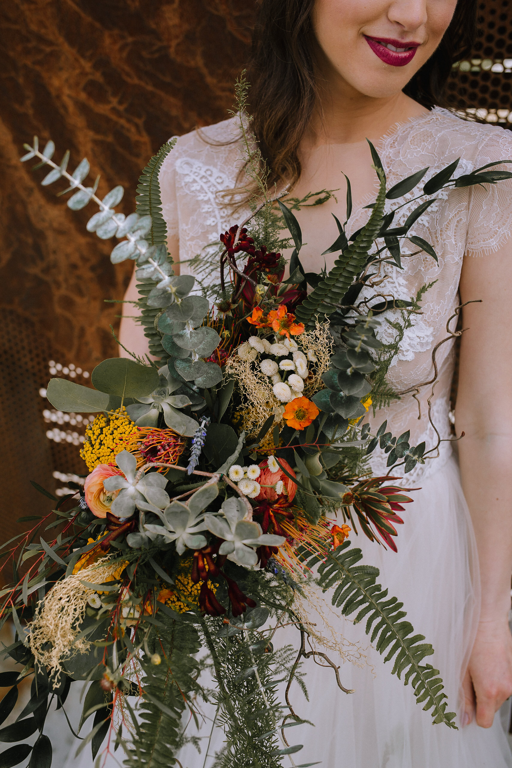 Organic boho wedding bouquet for fall vintage boho styled shoot designed by exhale events. Get inspired by these gorgeous wedding details at exhale-events.com!
