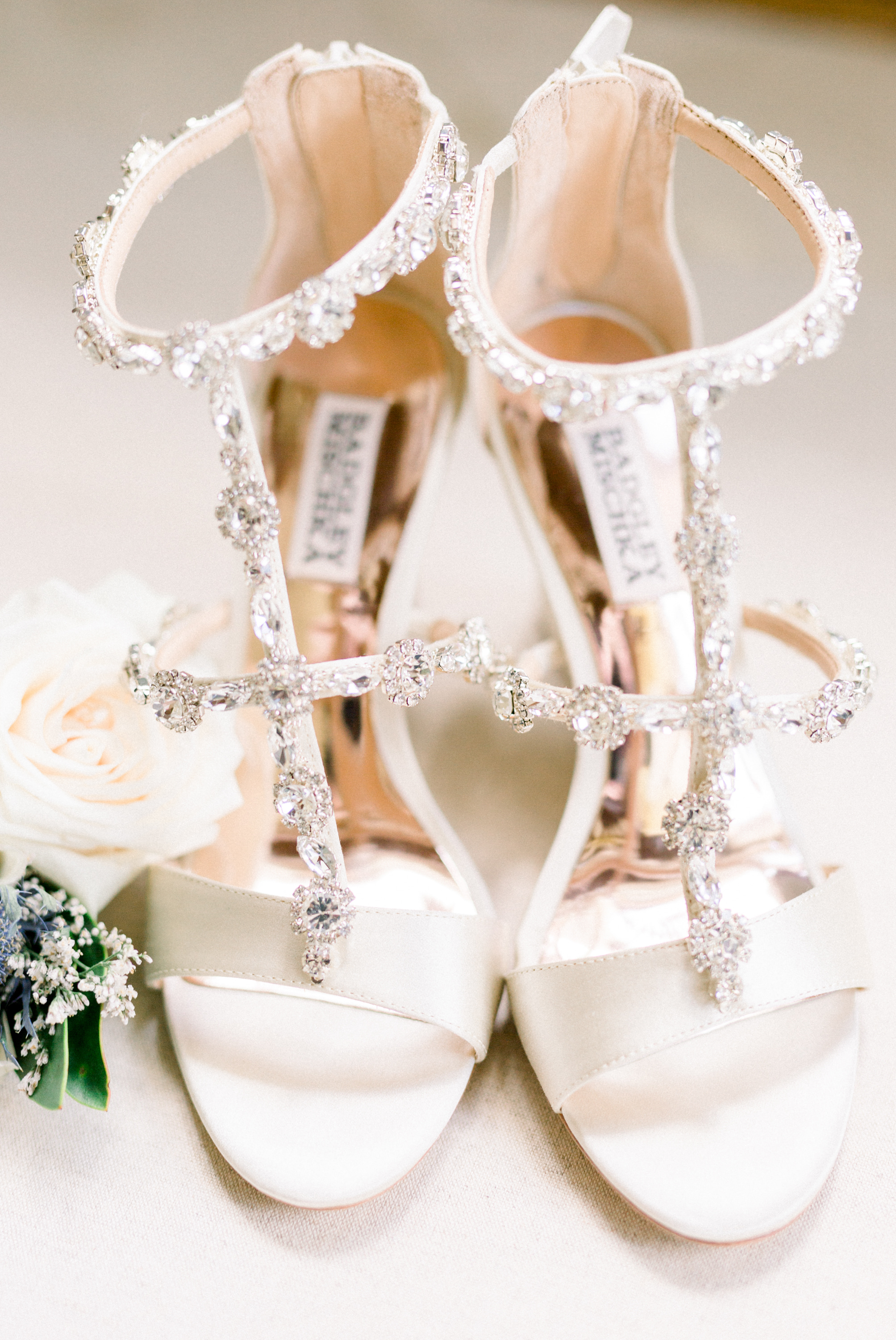 Bride's Badgley Mischka shoes for Pittsburgh wedding planned by Exhale Events. Find more wedding inspiration at exhale-events.com!