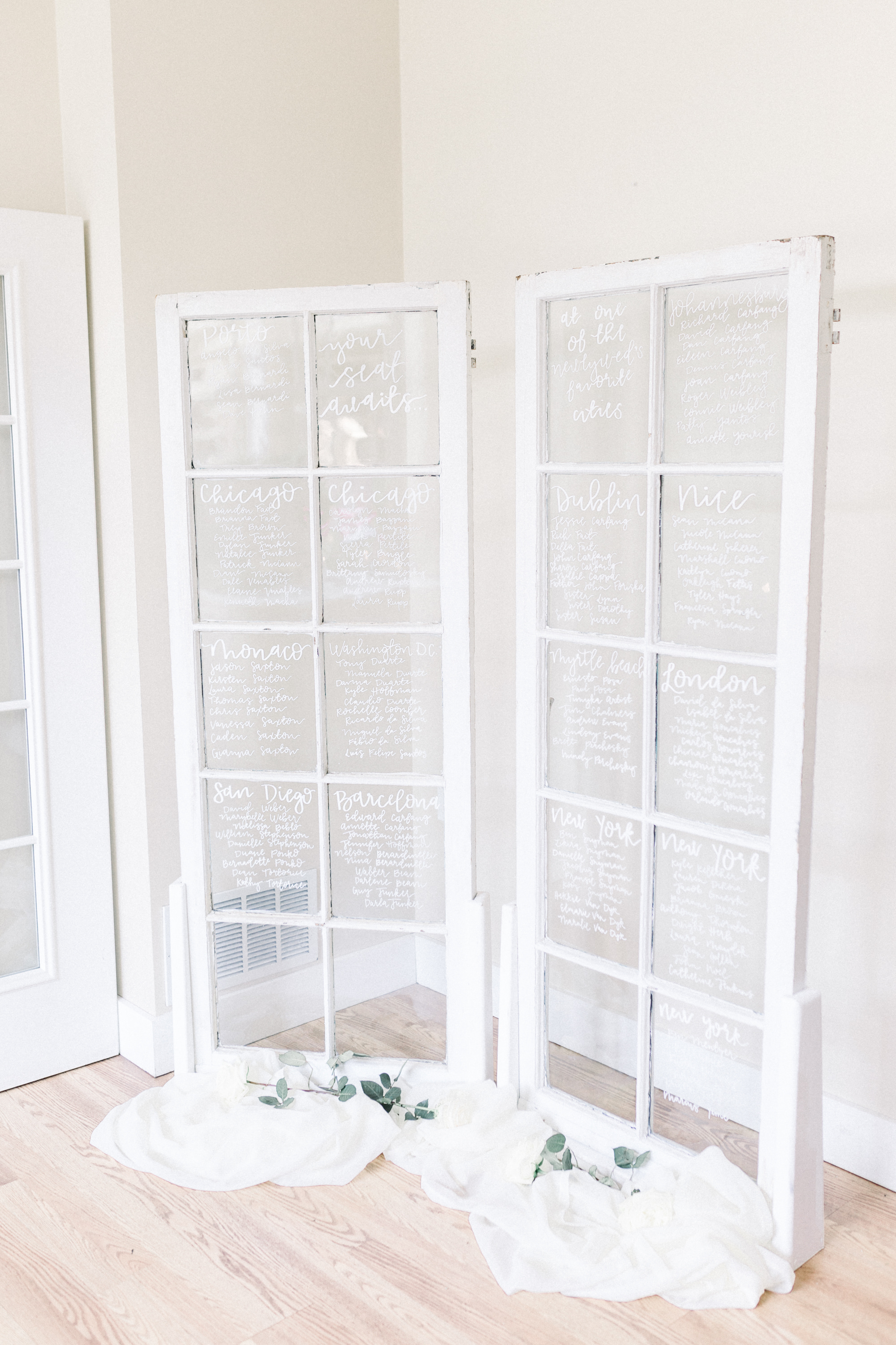 Vintage french doors to display tables at wedding reception for Pittsburgh wedding planned by Exhale Events. Find more wedding inspiration at exhale-events.com!
