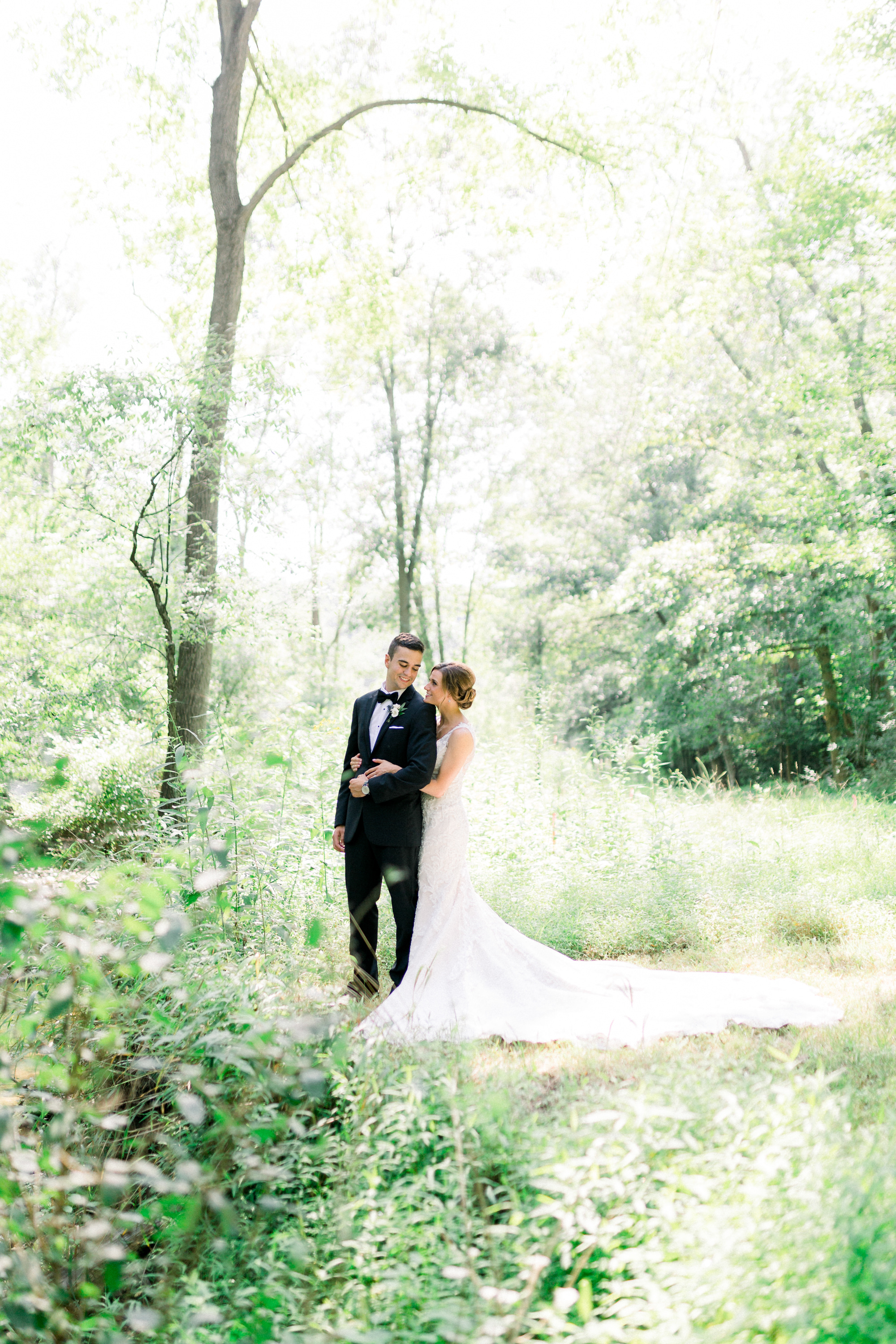Simple elegance wedding - Bride and groom take first look photos at simple and woodsy Pittsburgh wedding planned by Exhale Events. Find more wedding inspiration at exhale-events.com Pittbsurgh Wedding Planners