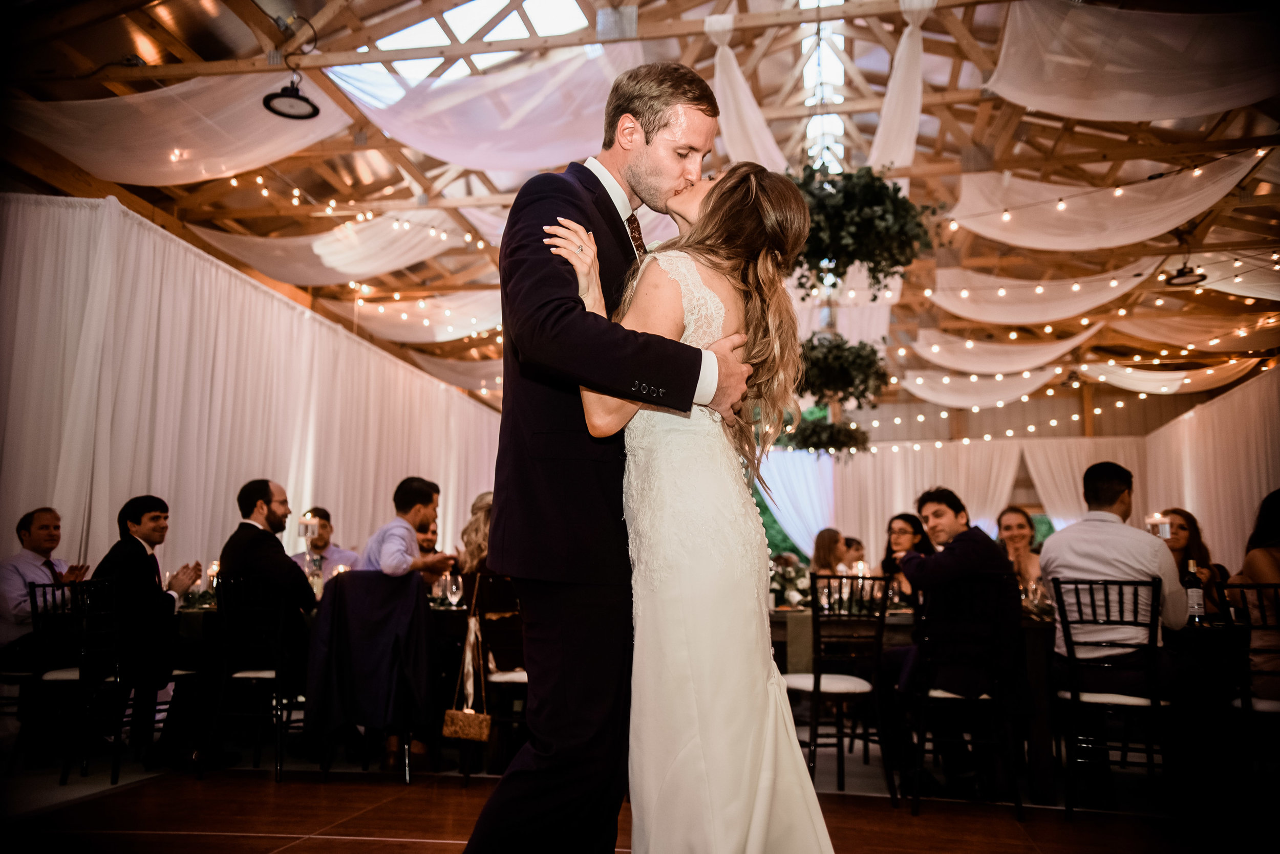 Bride and groom on the dance floor at wedding reception for Pittsburgh wedding planned by Exhale Events. Find more wedding inspiration at exhale-events.com!