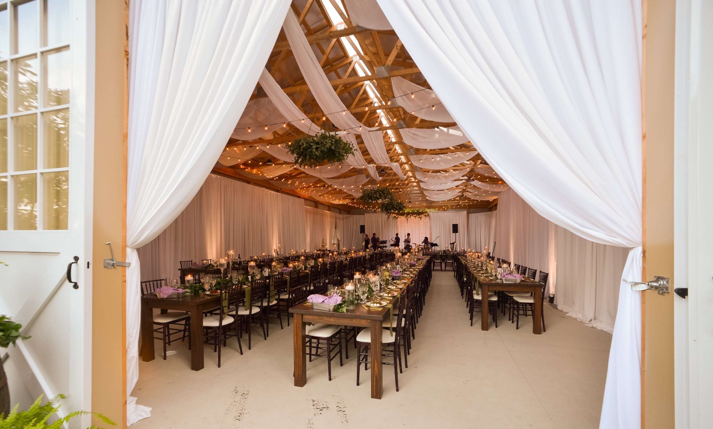Rustic wedding ceremony in Western Pennsylvania - after barn decorations. Exhale Events | Pittsburgh Wedding Planners