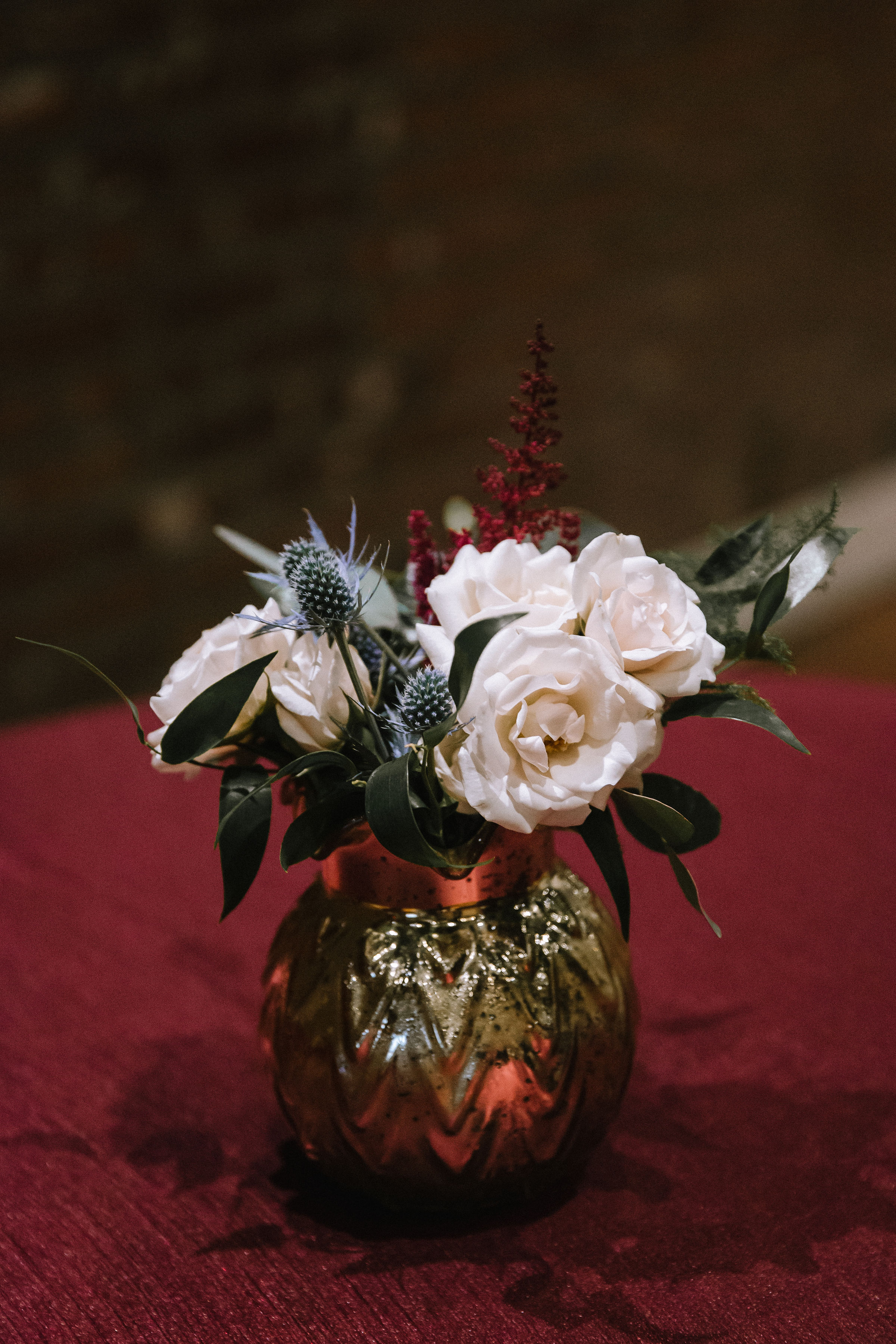 Wedding centerpieces for Pittsburgh wedding at Studio Slate planned by Exhale Events. Find more wedding inspiration at exhale-events.com!