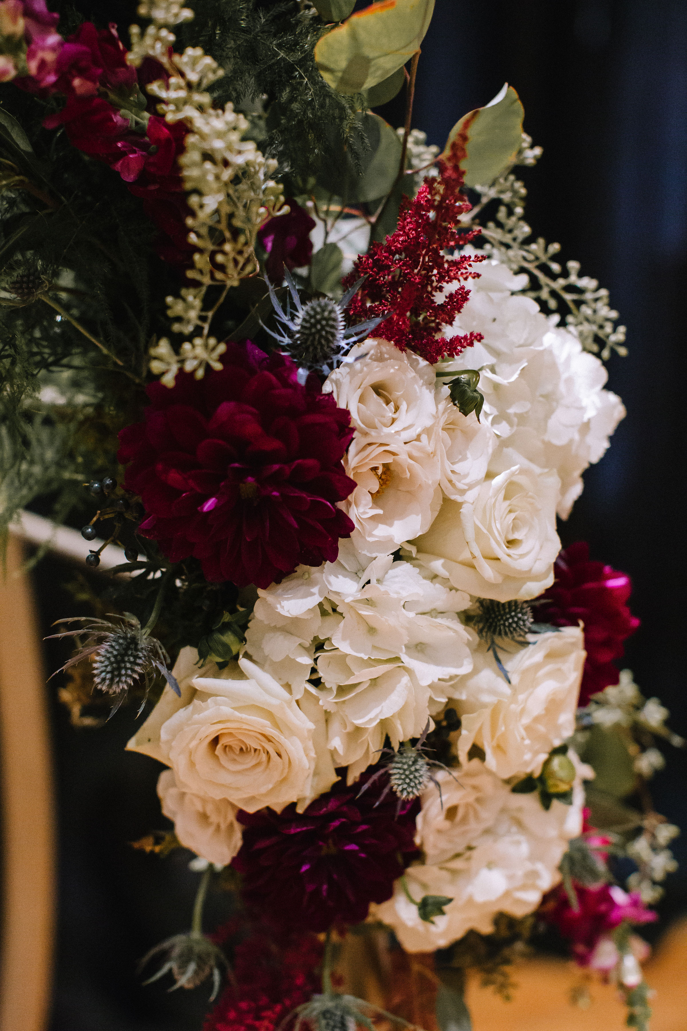 Wedding floral accents for Pittsburgh wedding at Studio Slate planned by Exhale Events. Find more wedding inspiration at exhale-events.com!