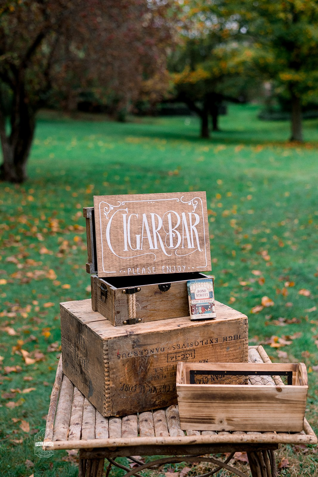Vintage wedding reception outdoor cigar bar wedding sign for fall barn wedding in Pittsburgh, PA planned by Exhale Events. Find more wedding inspiration at exhale-events.com!