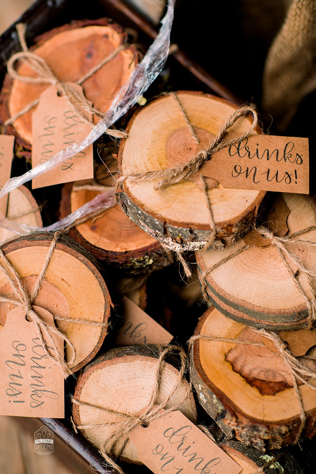 Rustic wedding favors for fall barn wedding in Pittsburgh, PA planned by Exhale Events. Find more wedding inspiration at exhale-events.com!