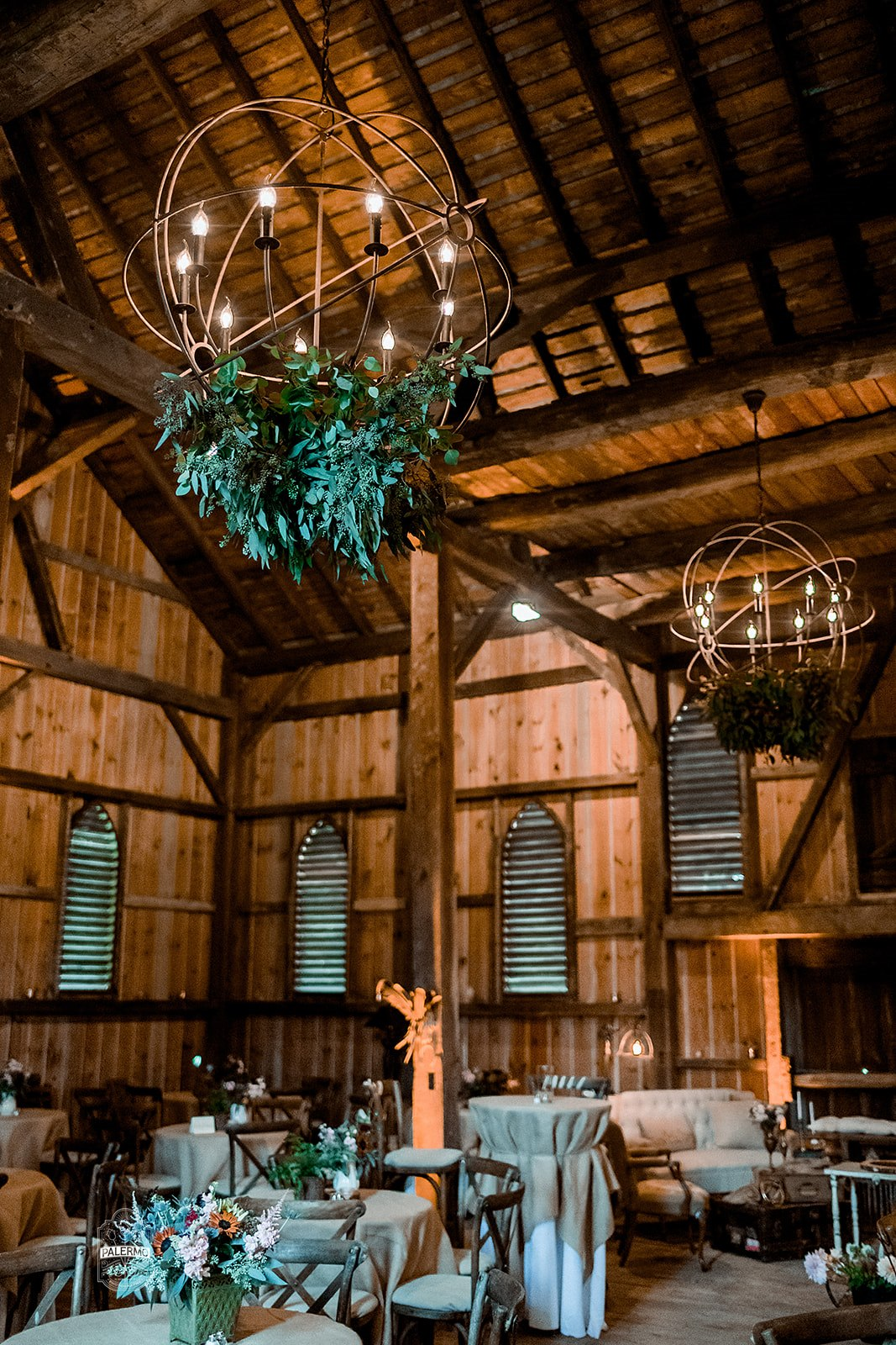 Rustic lights for wedding lighting and wedding reception decor at fall barn wedding in Pittsburgh, PA planned by Exhale Events. Find more wedding inspiration at exhale-events.com!