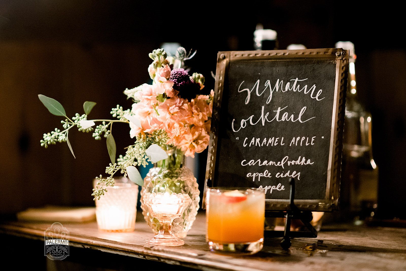 Wedding signature drinks on wedding sign for rustic fall barn wedding in Pittsburgh, PA planned by Exhale Events. Find more wedding inspiration at exhale-events.com!