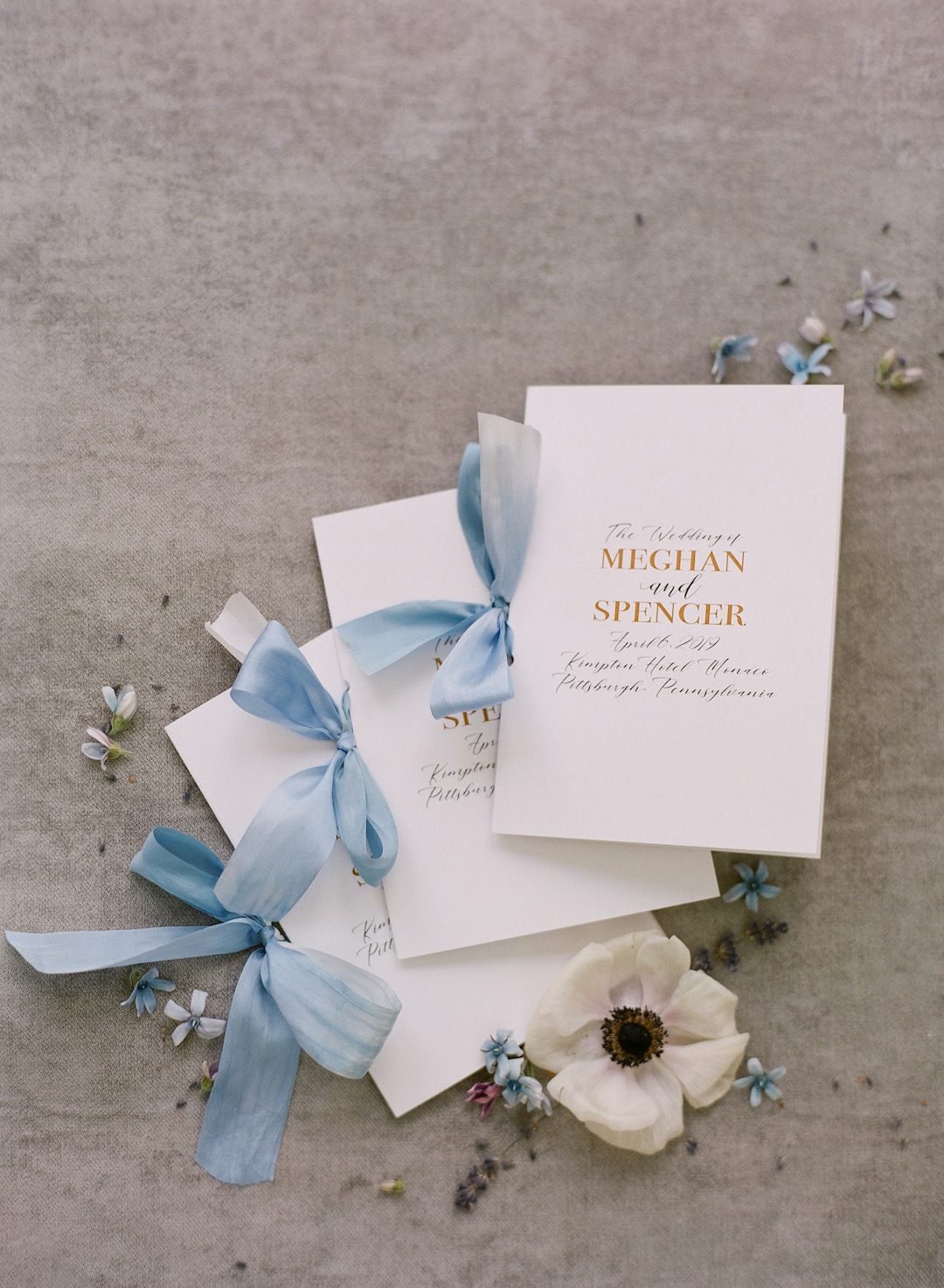 Elegant wedding ceremony programs for Pittsburgh wedding at Hotel Monaco planned by Exhale Events. Find more modern wedding ideas at exhale-events.com!