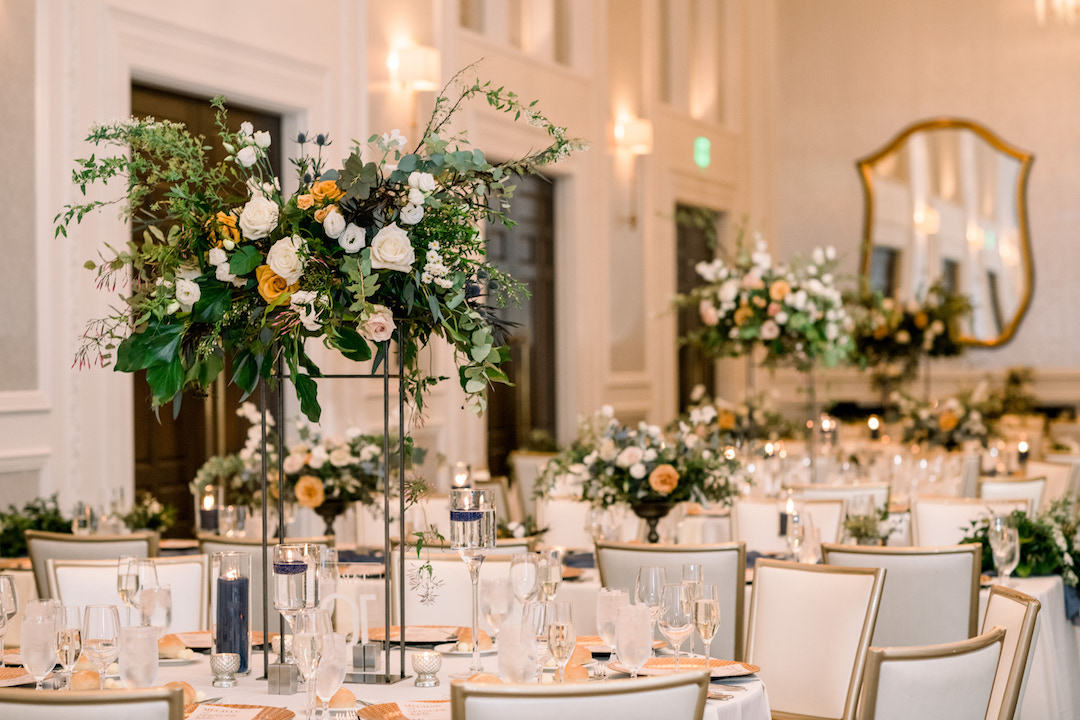 Tall wedding centerpieces for Pittsburgh wedding at Hotel Monaco planned by Exhale Events. Find more modern wedding ideas at exhale-events.com!