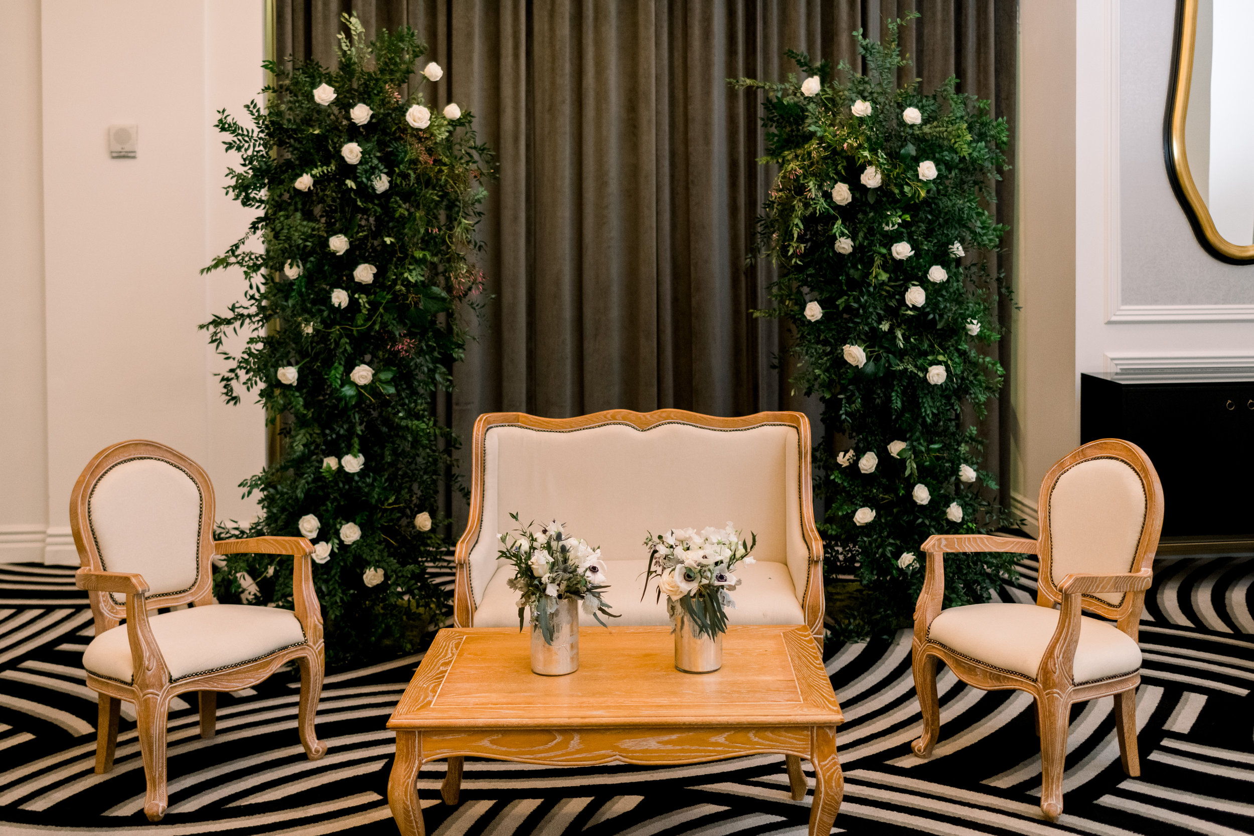 Wedding reception decor for Pittsburgh wedding at Hotel Monaco planned by Exhale Events. Find more modern wedding ideas at exhale-events.com!